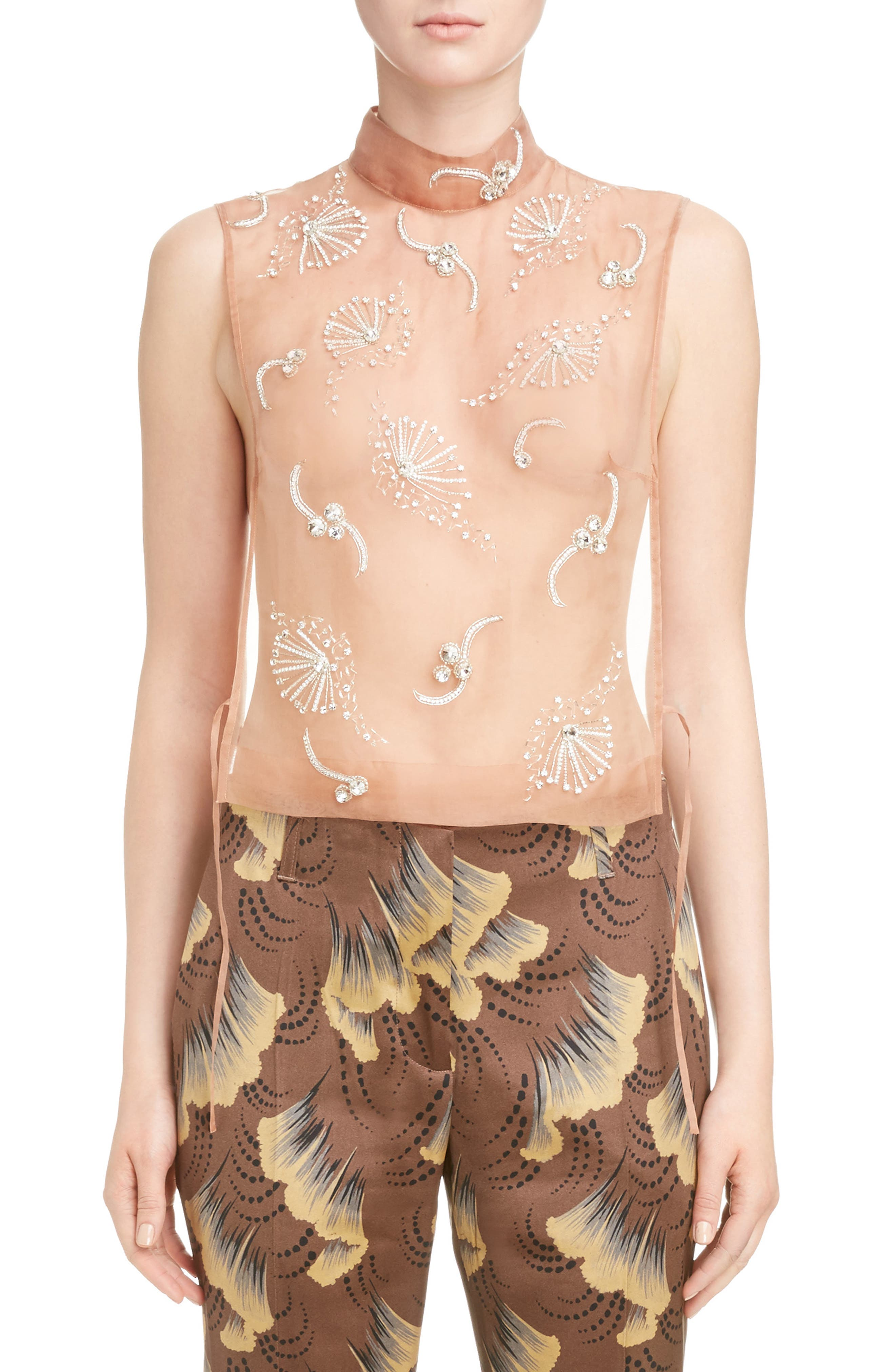 Alternate Image 1 Selected - Dries Van Noten Sheer Embellished Silk Tank