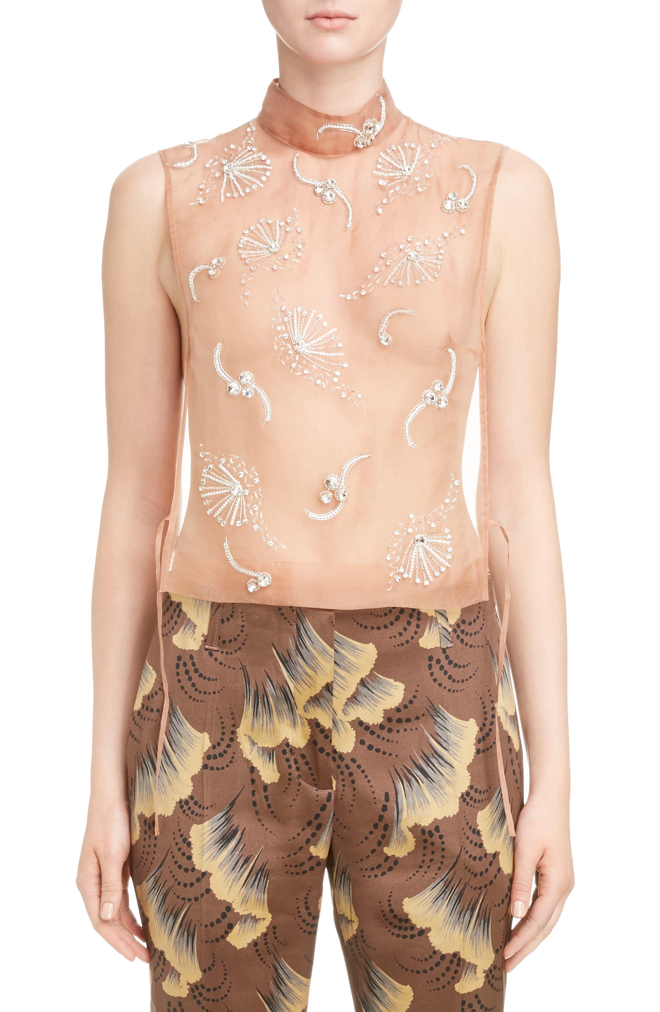 Main Image - Dries Van Noten Sheer Embellished Silk Tank