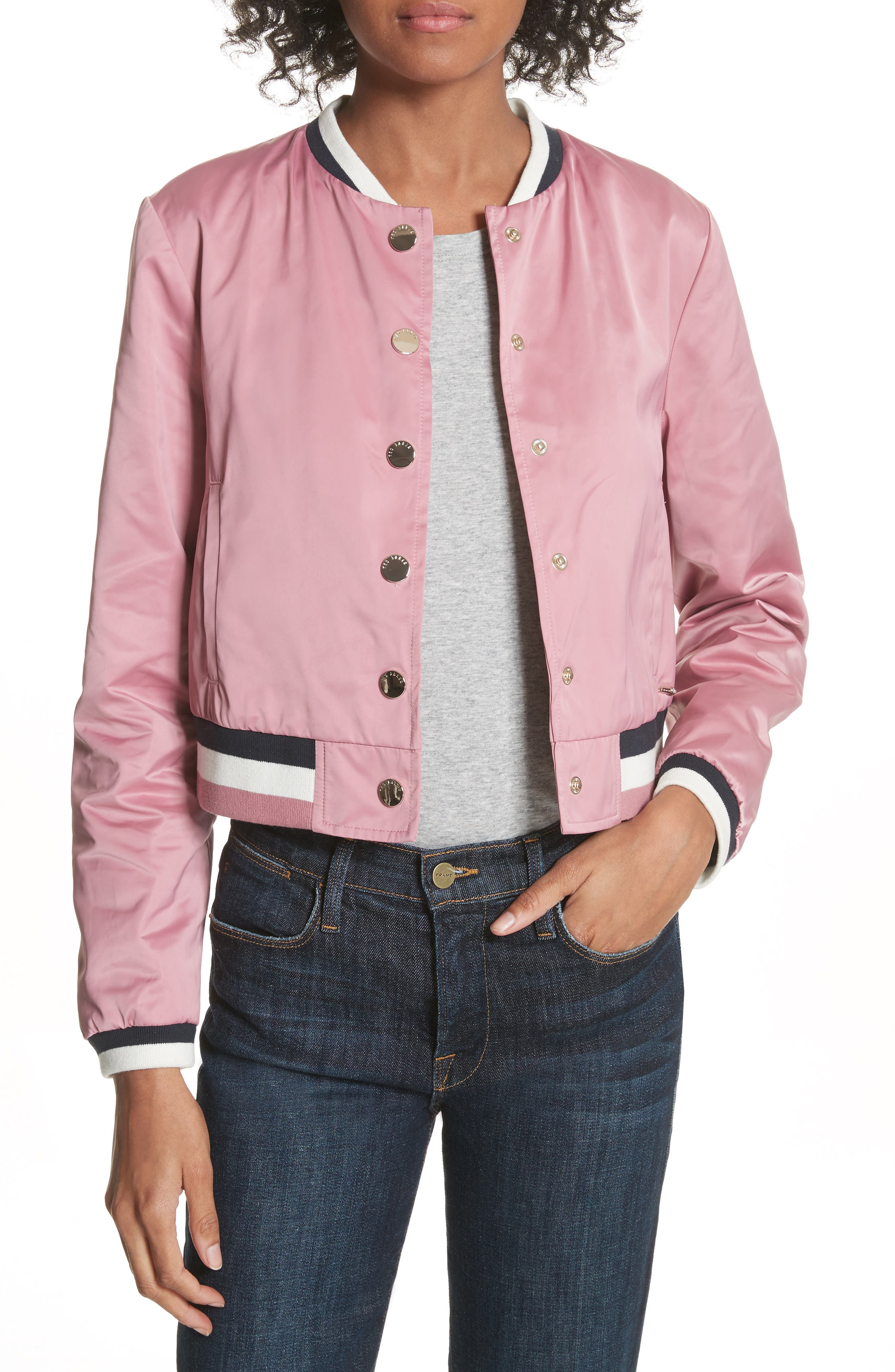 Colour by Numbers Bomber Jacket,                             Main thumbnail 1, color,                             Dusky Pink