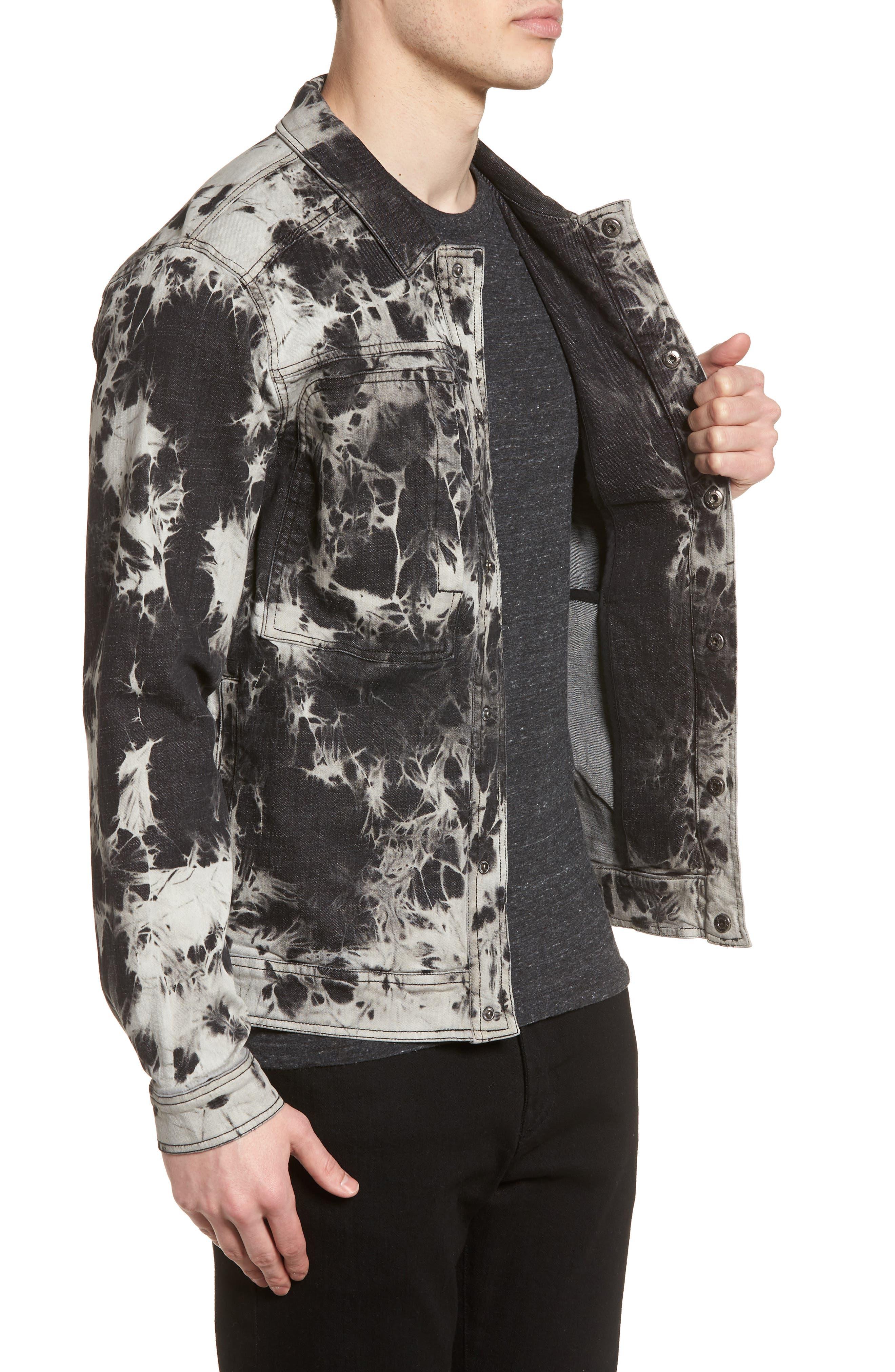 Bleach Tie Dye Denim Jacket,                             Alternate thumbnail 3, color,                             Black