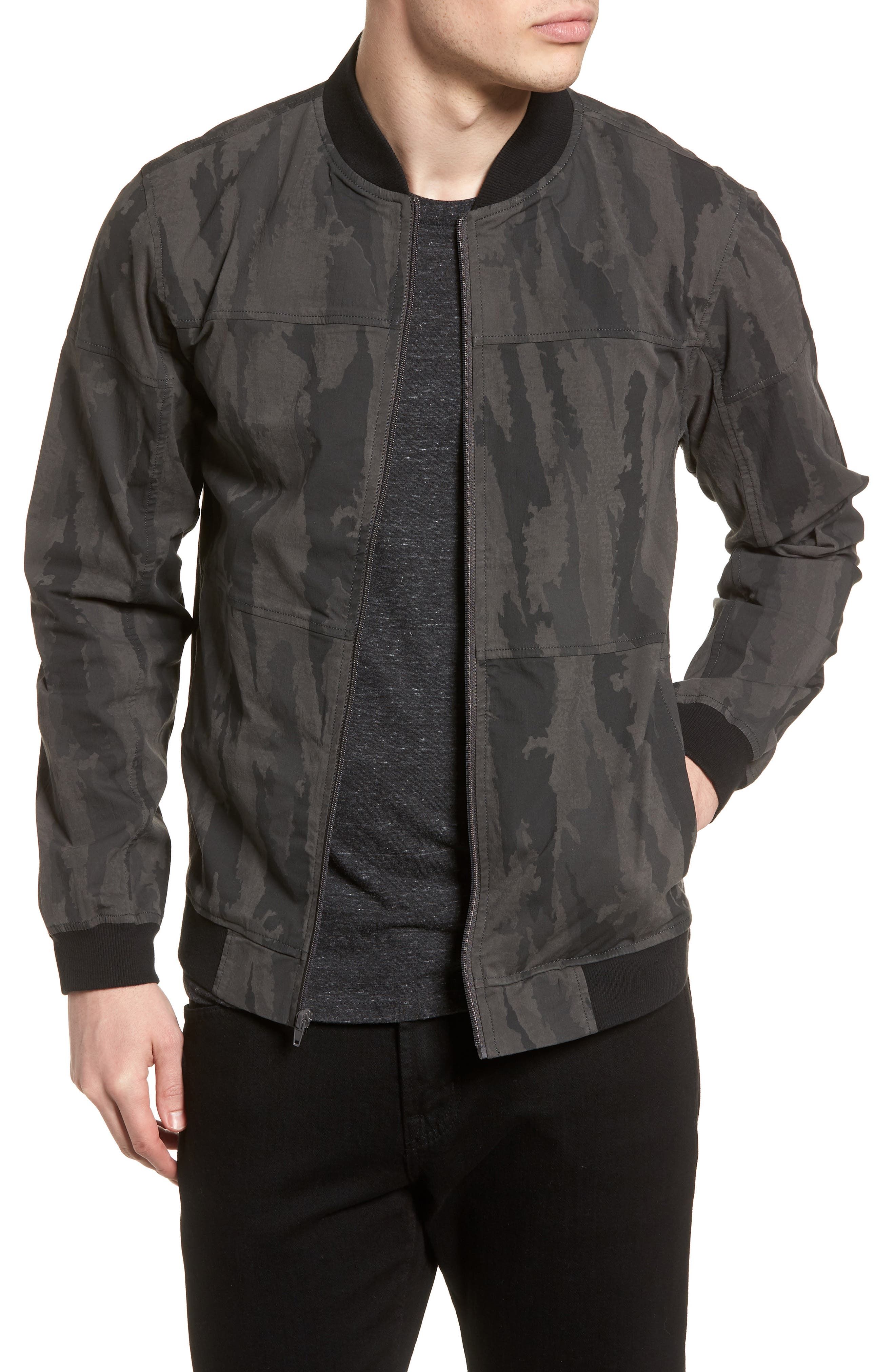 Camo Bomber Jacket,                         Main,                         color, Charcoal