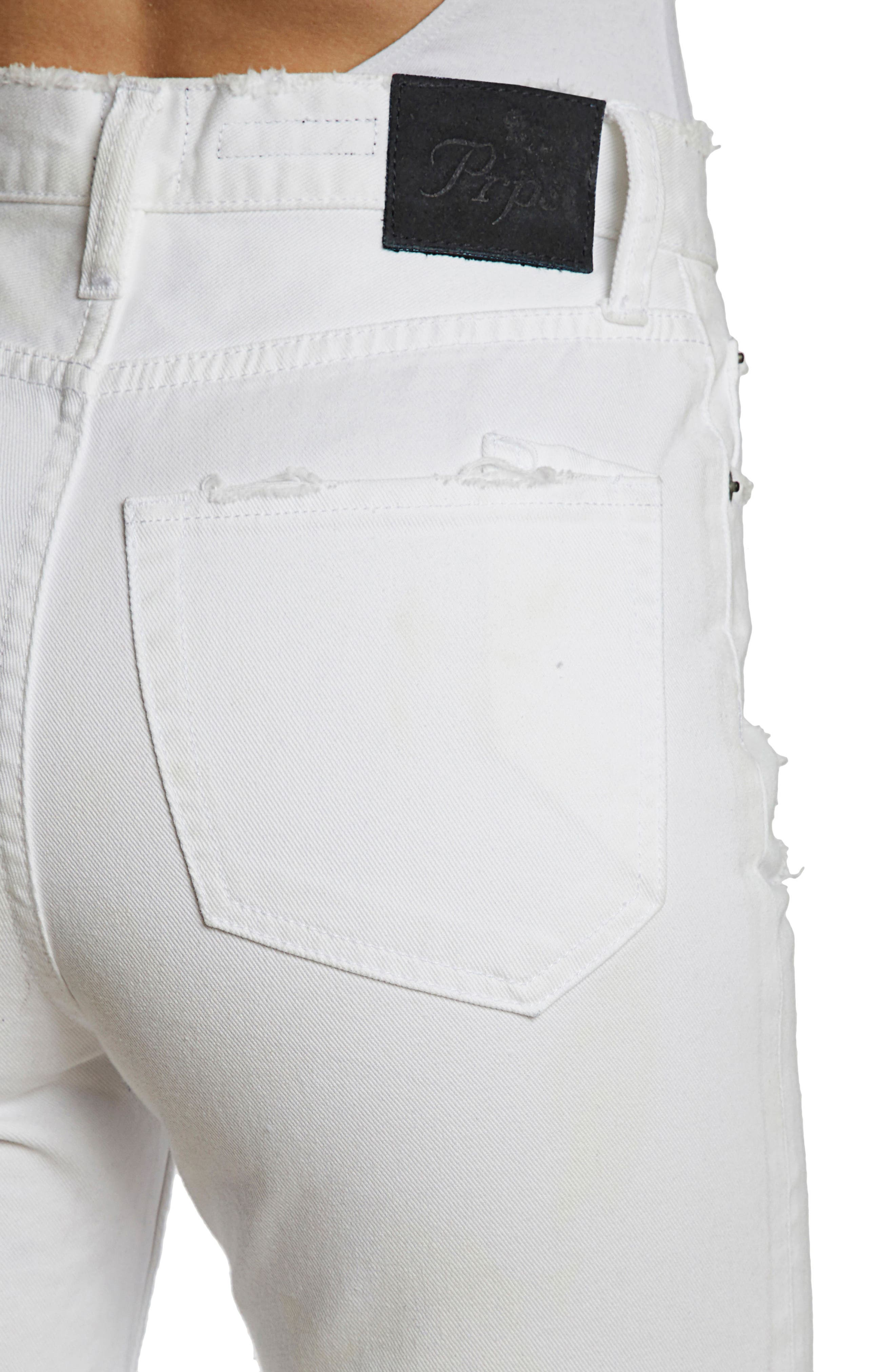 AMX Distressed High Waist Released Hem Ankle Jeans,                             Alternate thumbnail 4, color,                             White