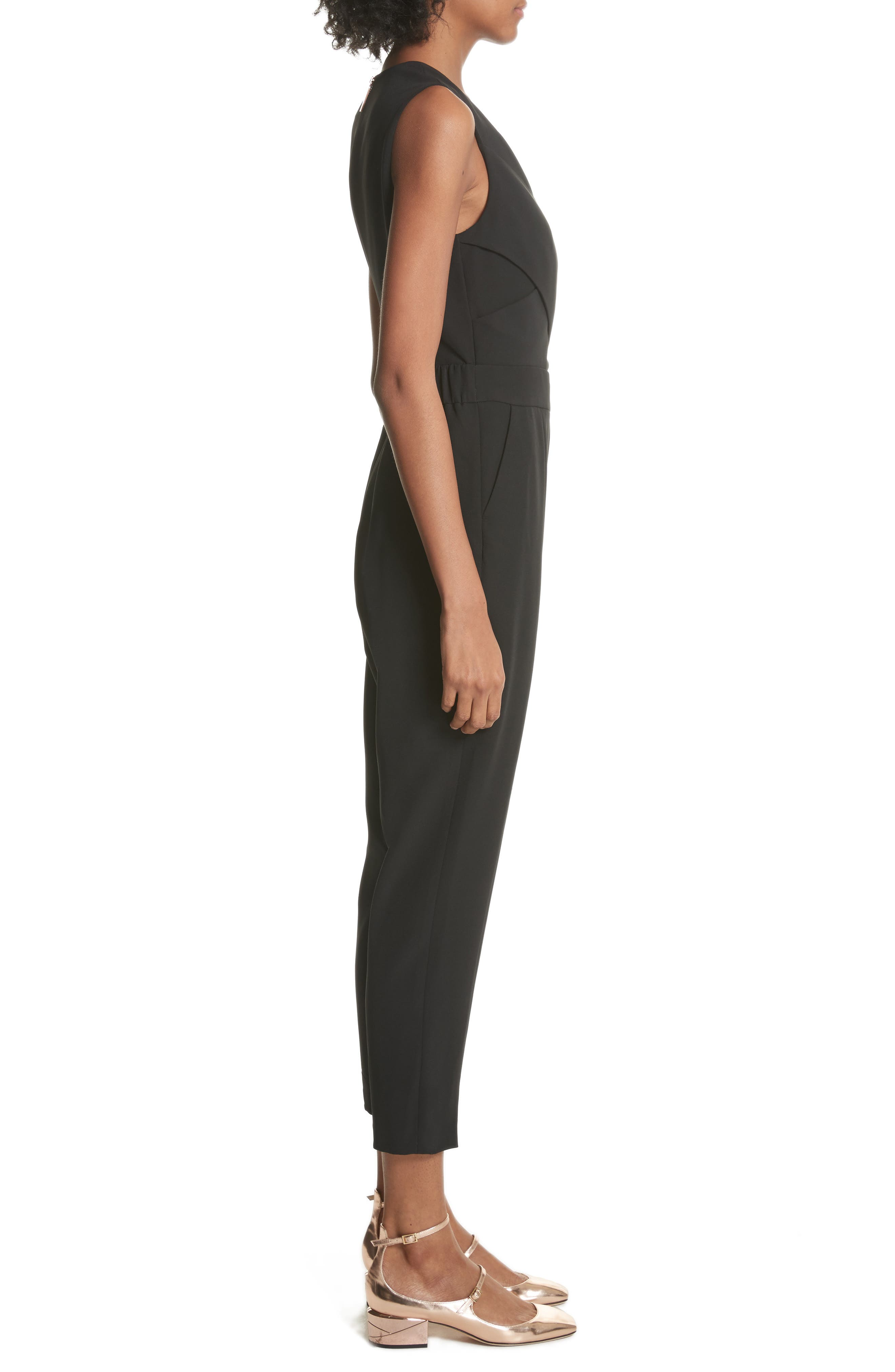 Crisscross Front Jumpsuit,                             Alternate thumbnail 3, color,                             Black