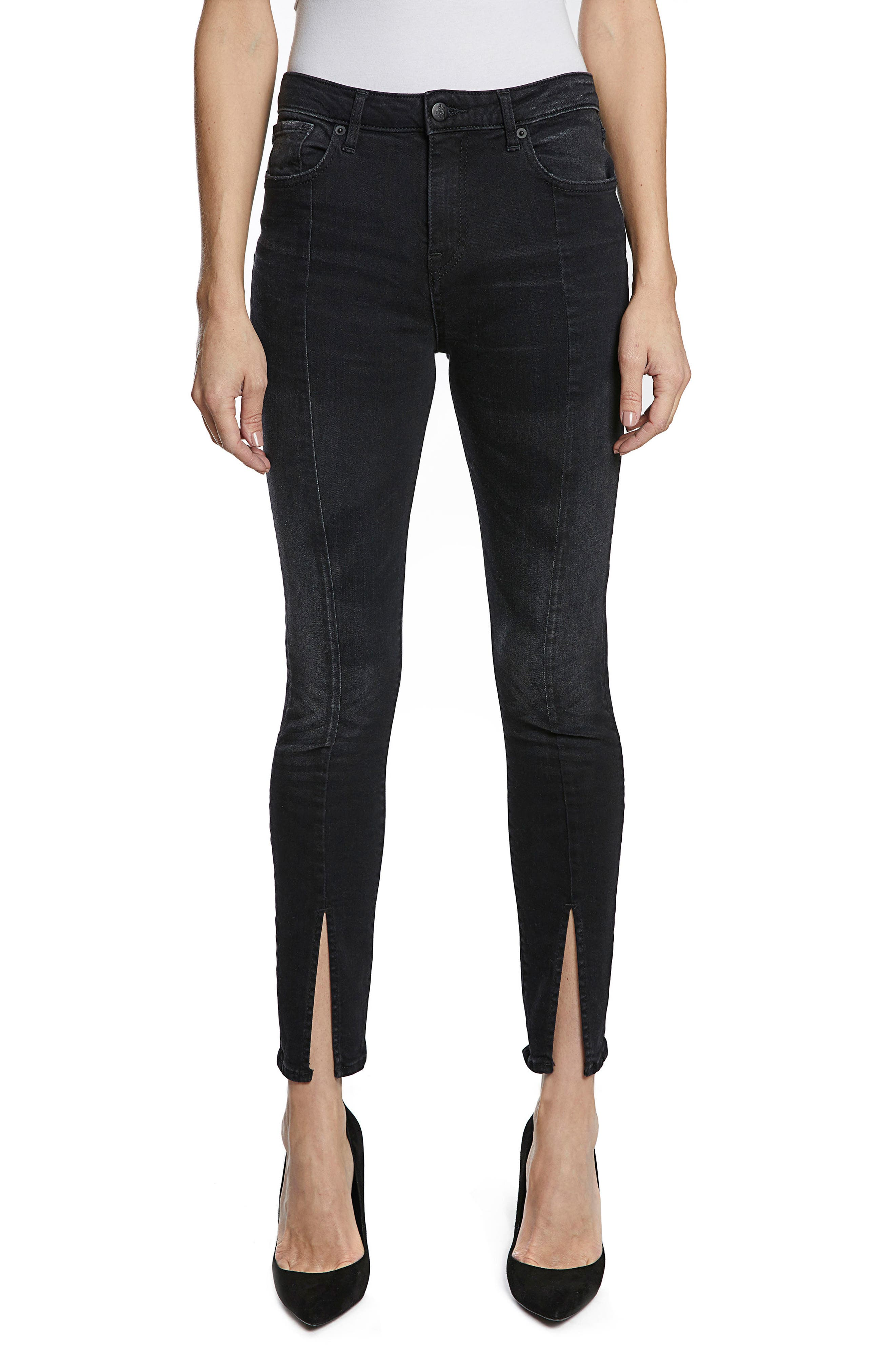 Chevelle Split Ankle Skinny Jeans,                             Main thumbnail 1, color,                             Black