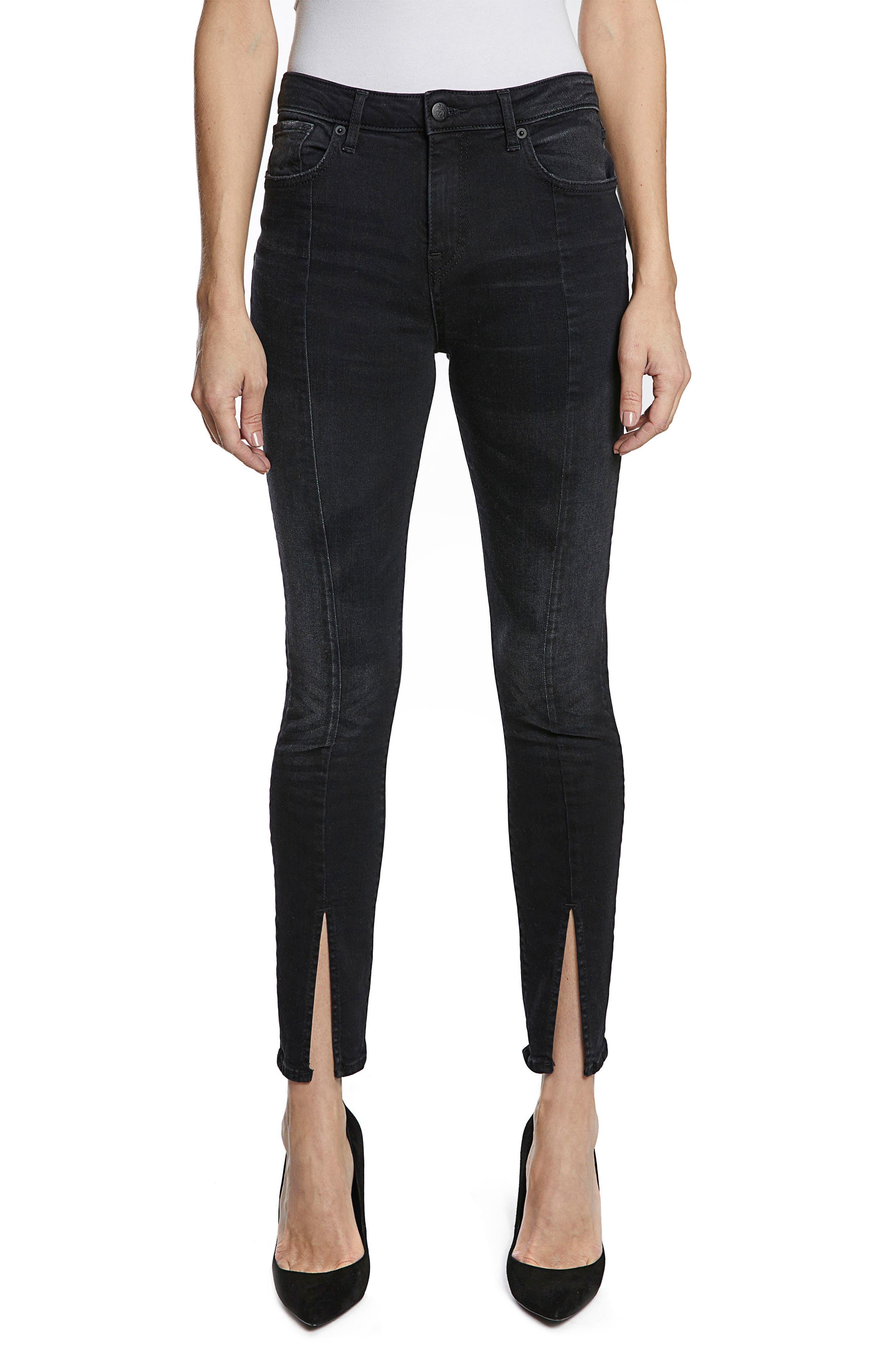 Chevelle Split Ankle Skinny Jeans,                         Main,                         color, Black