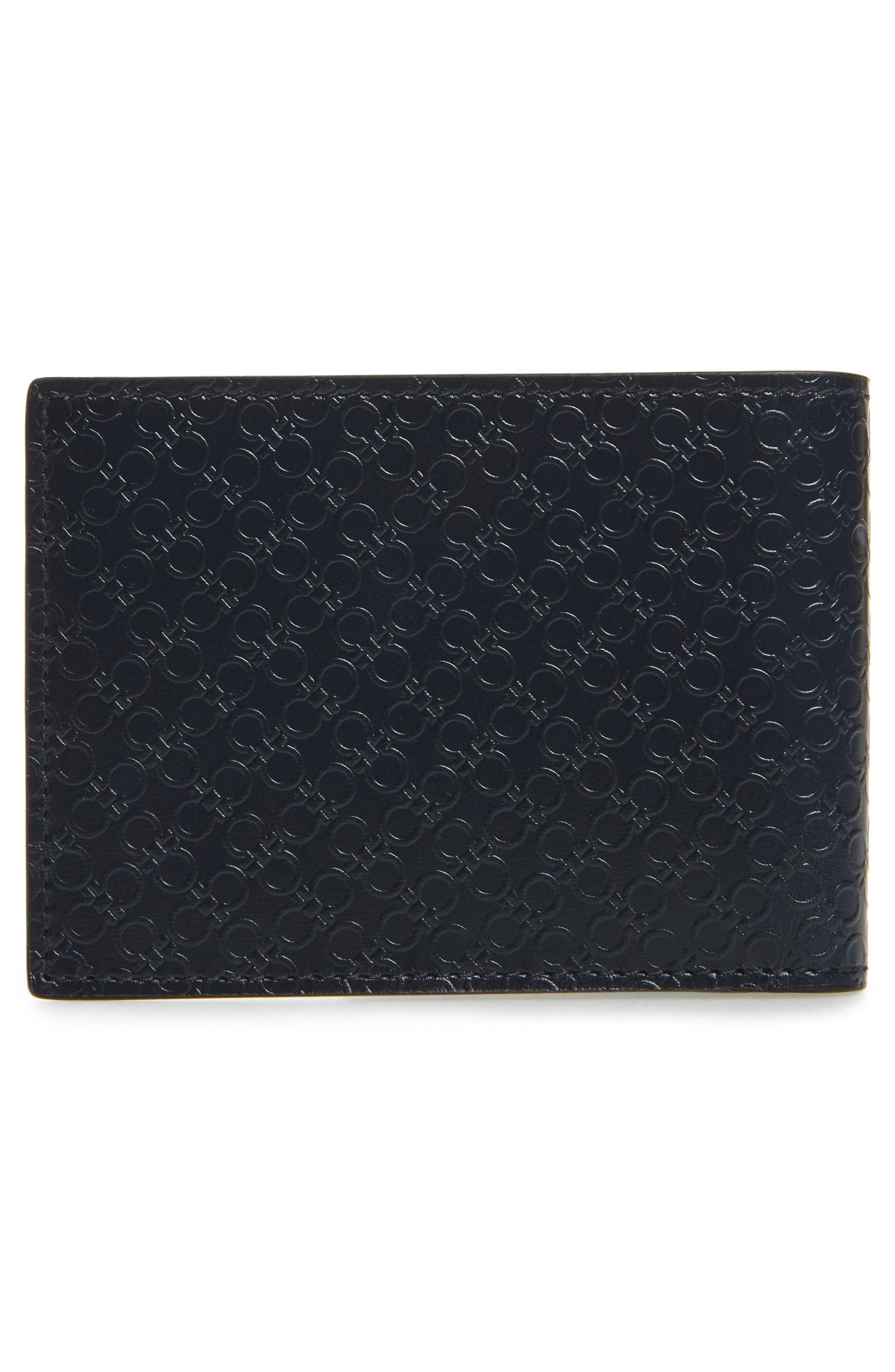 Gancini Leather Card Case,                             Alternate thumbnail 2, color,                             Blue Marine