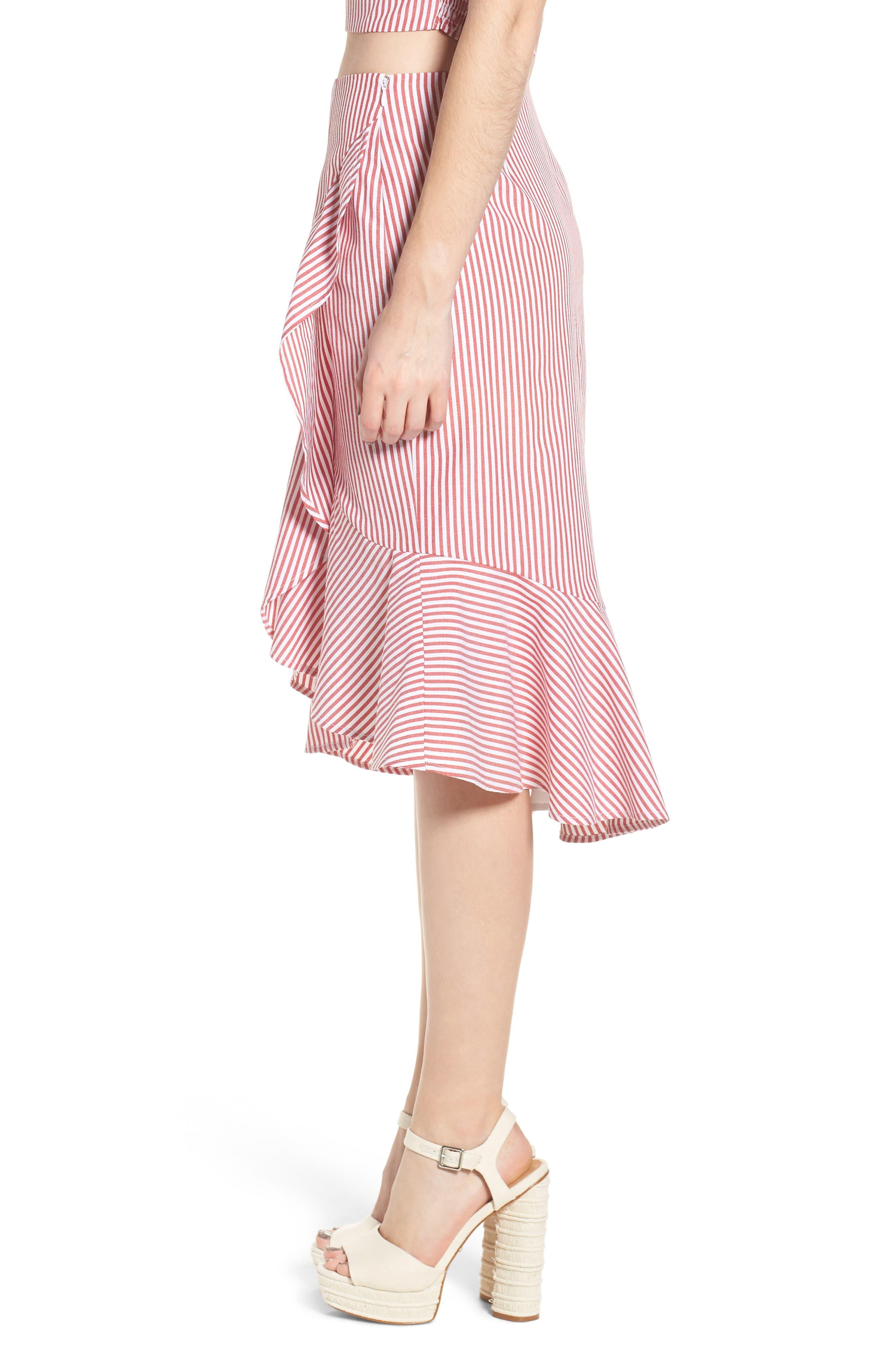 Naples Ruffle Skirt,                             Alternate thumbnail 3, color,                             Red Stripe