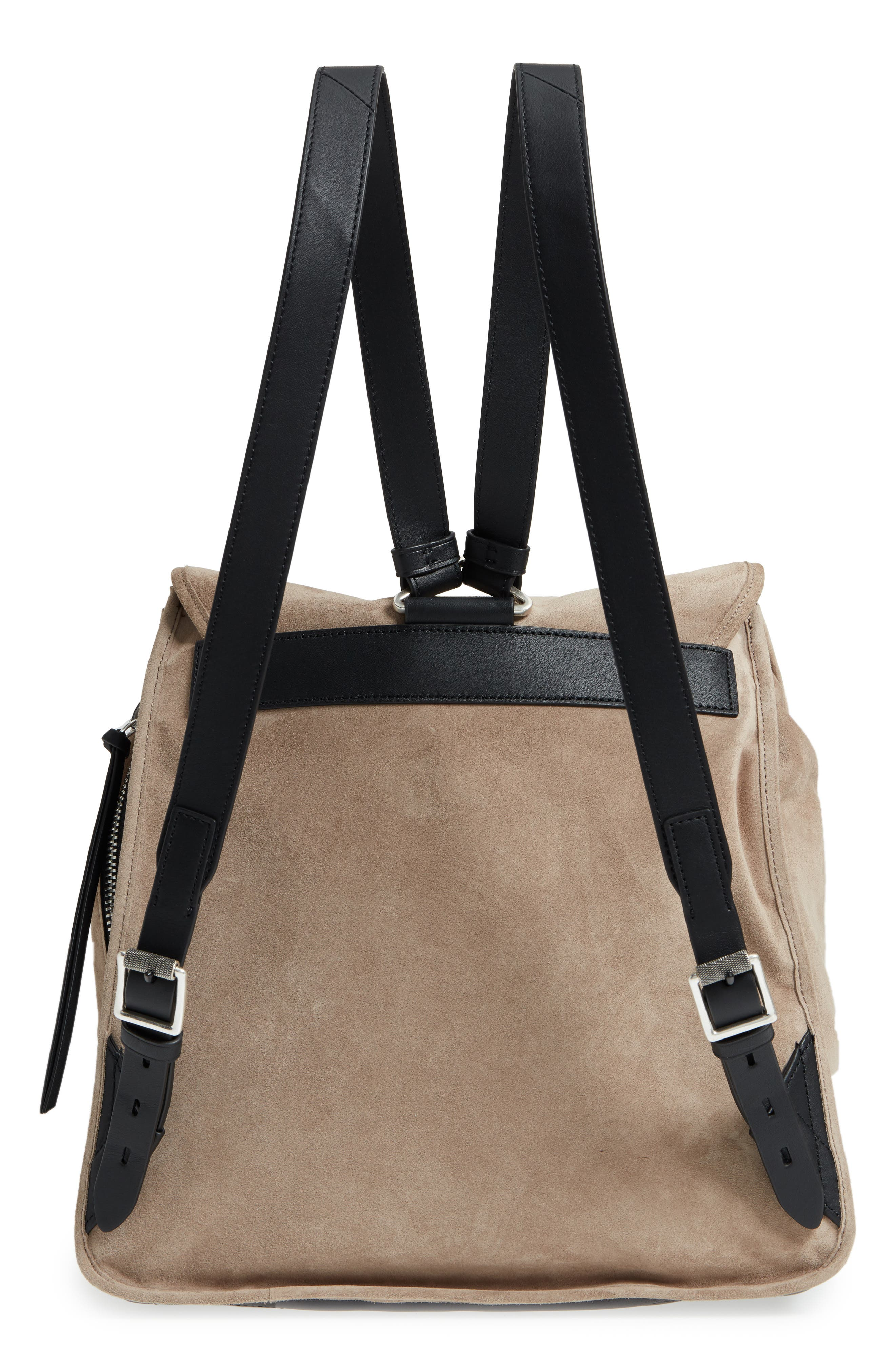 Field Suede & Leather Backpack,                             Alternate thumbnail 3, color,                             Warm Grey Suede