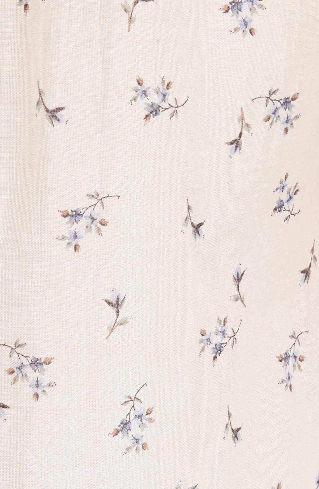 Floral Spring A-Line Dress,                             Alternate thumbnail 5, color,                             Snow Combo