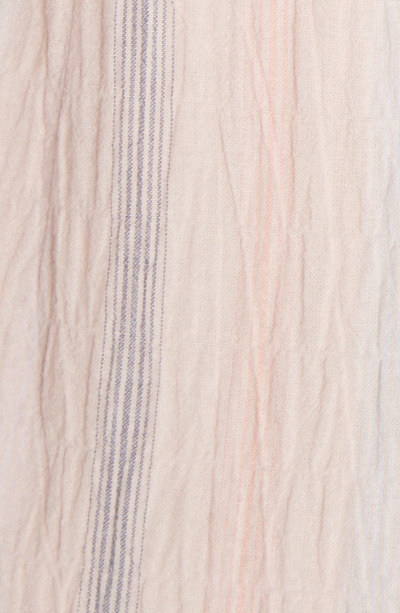 Stripe Ruffle Cap Sleeve Dress,                             Alternate thumbnail 5, color,                             Ballet Combo