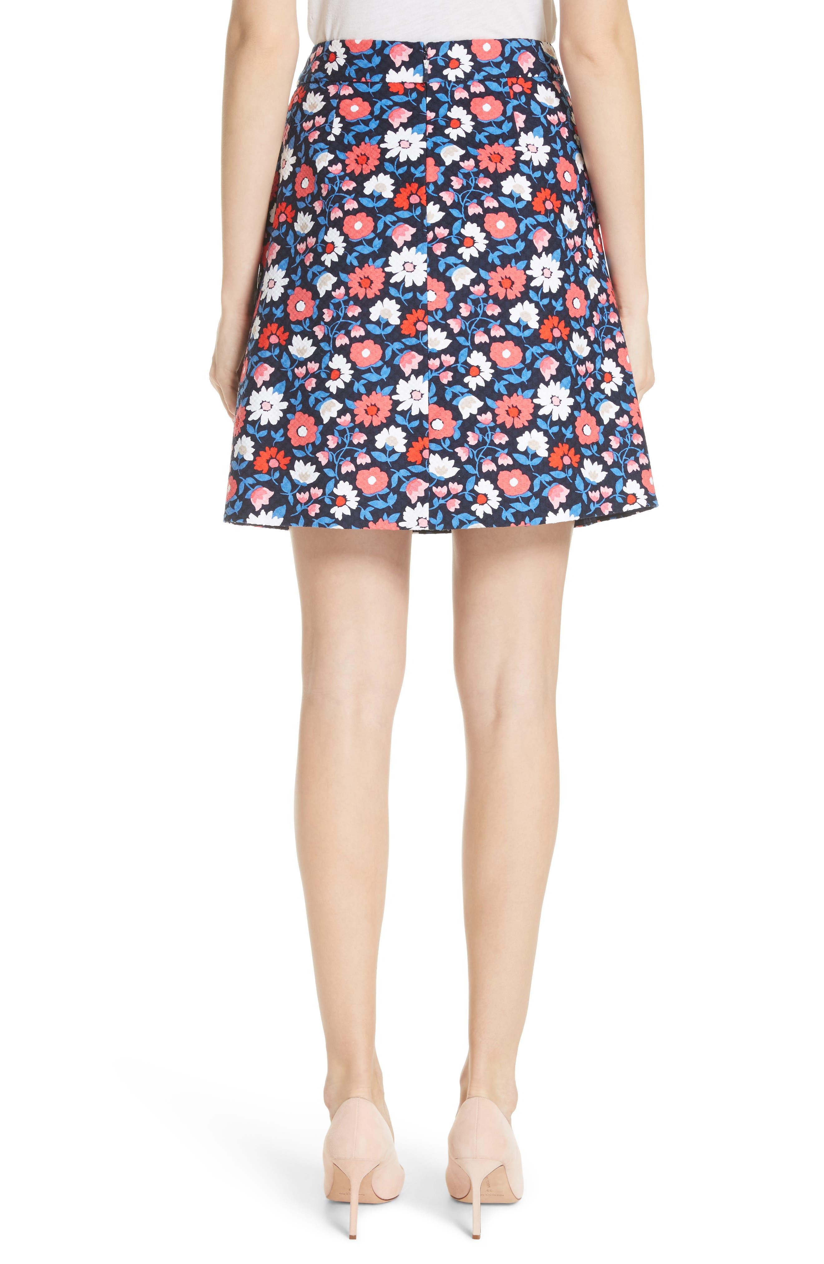 daisy jacquard A-line skirt,                             Alternate thumbnail 2, color,                             Rich Navy