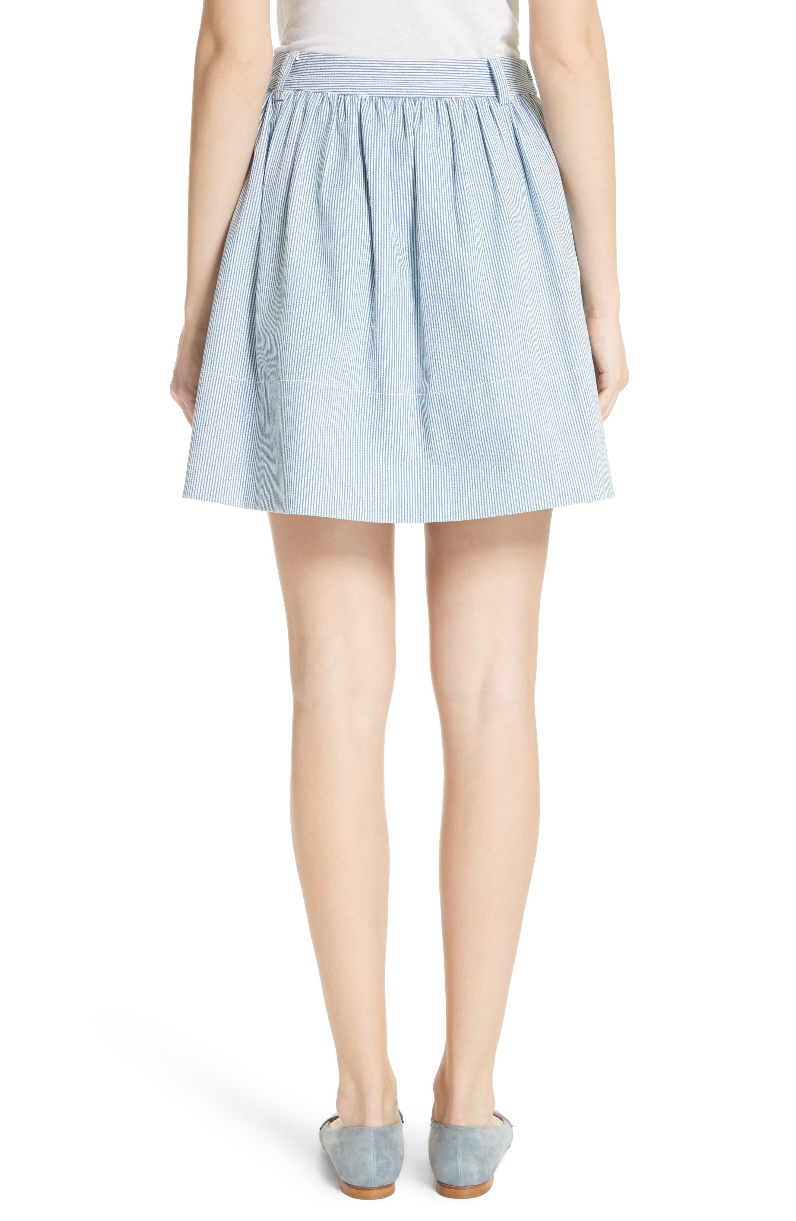 railroad stripe denim skirt,                             Alternate thumbnail 2, color,                             Indigo/ Cream