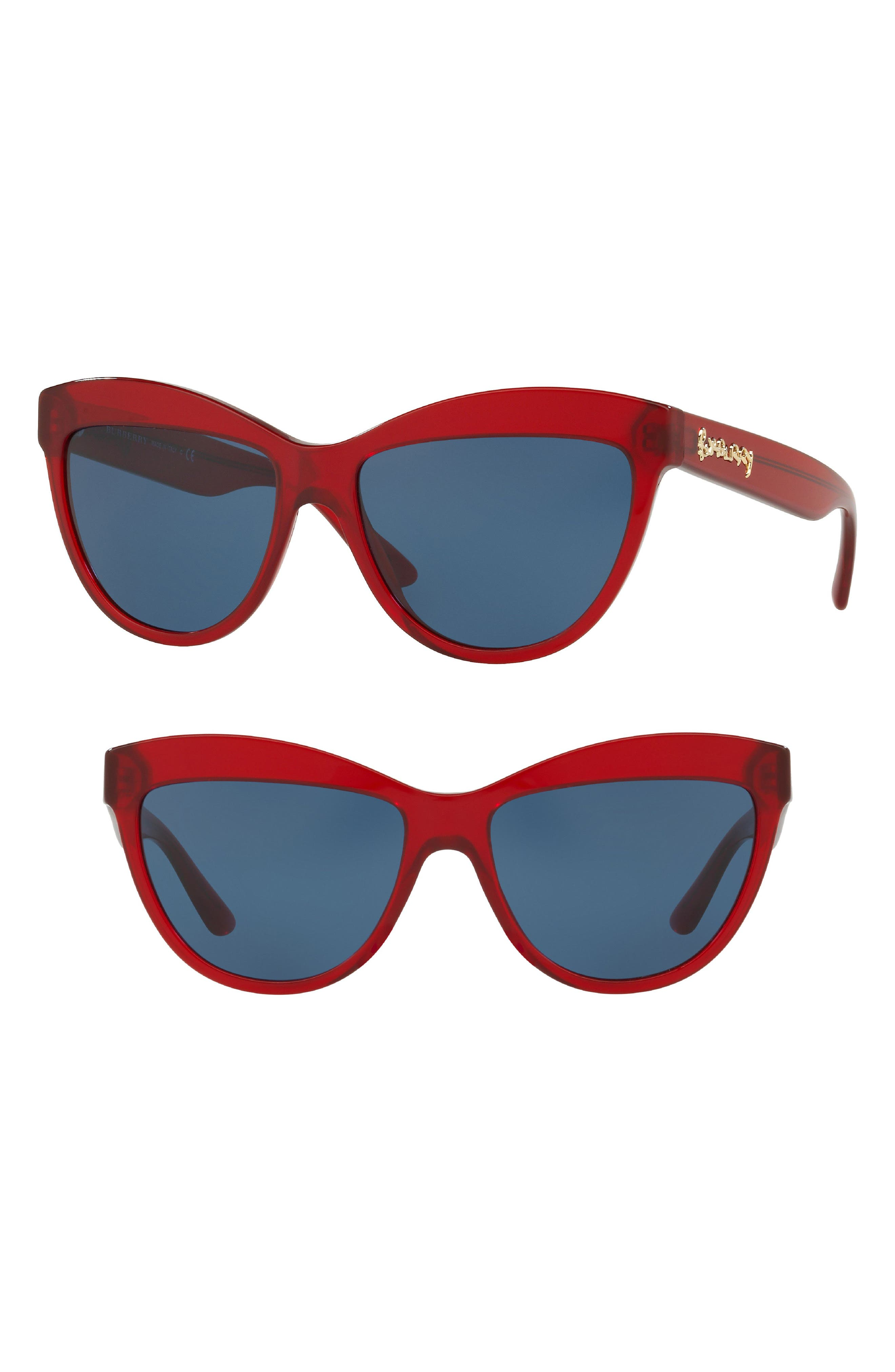 Acoustic 56mm Cat Eye Sunglasses,                             Main thumbnail 1, color,                             Burgundy Solid