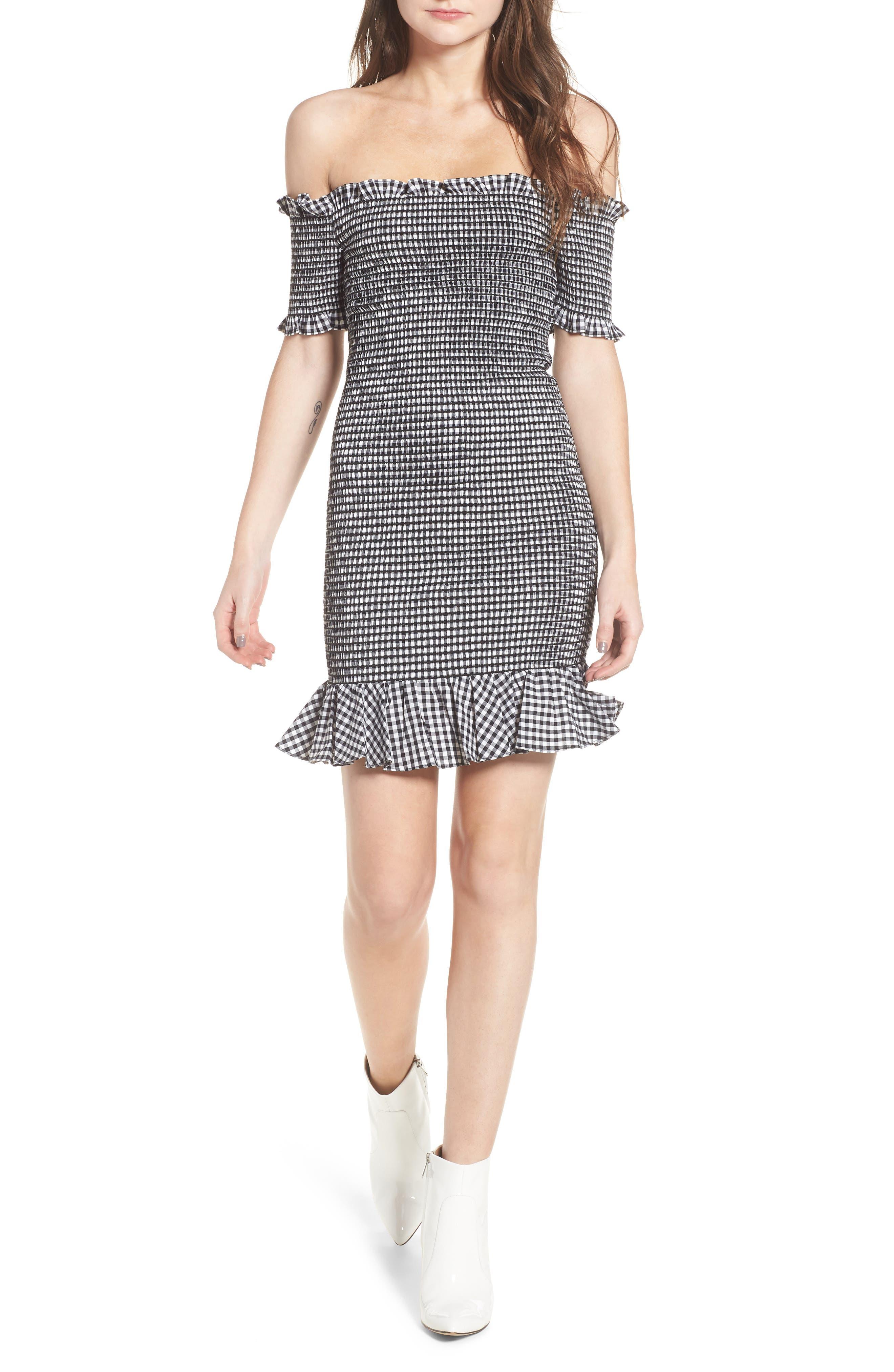 Scafati Off the Shoulder Minidress,                         Main,                         color, Black/ White