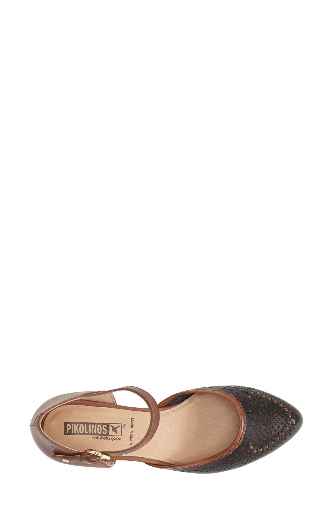 'Elba' Perforated Leather Ankle Strap Sandal,                             Alternate thumbnail 3, color,                             Black Leather