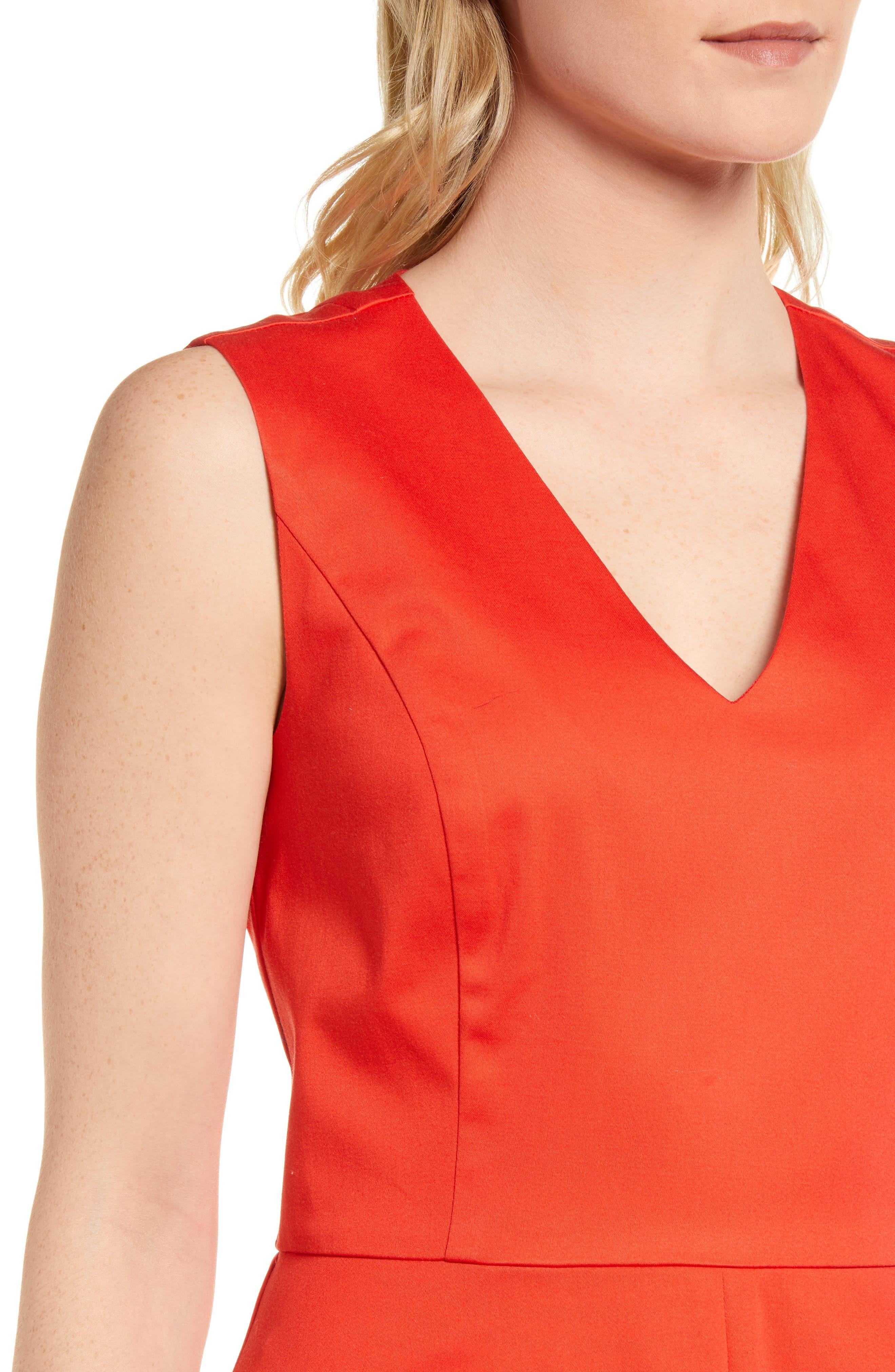 Love Circle V-Neck Dress,                             Alternate thumbnail 4, color,                             Red