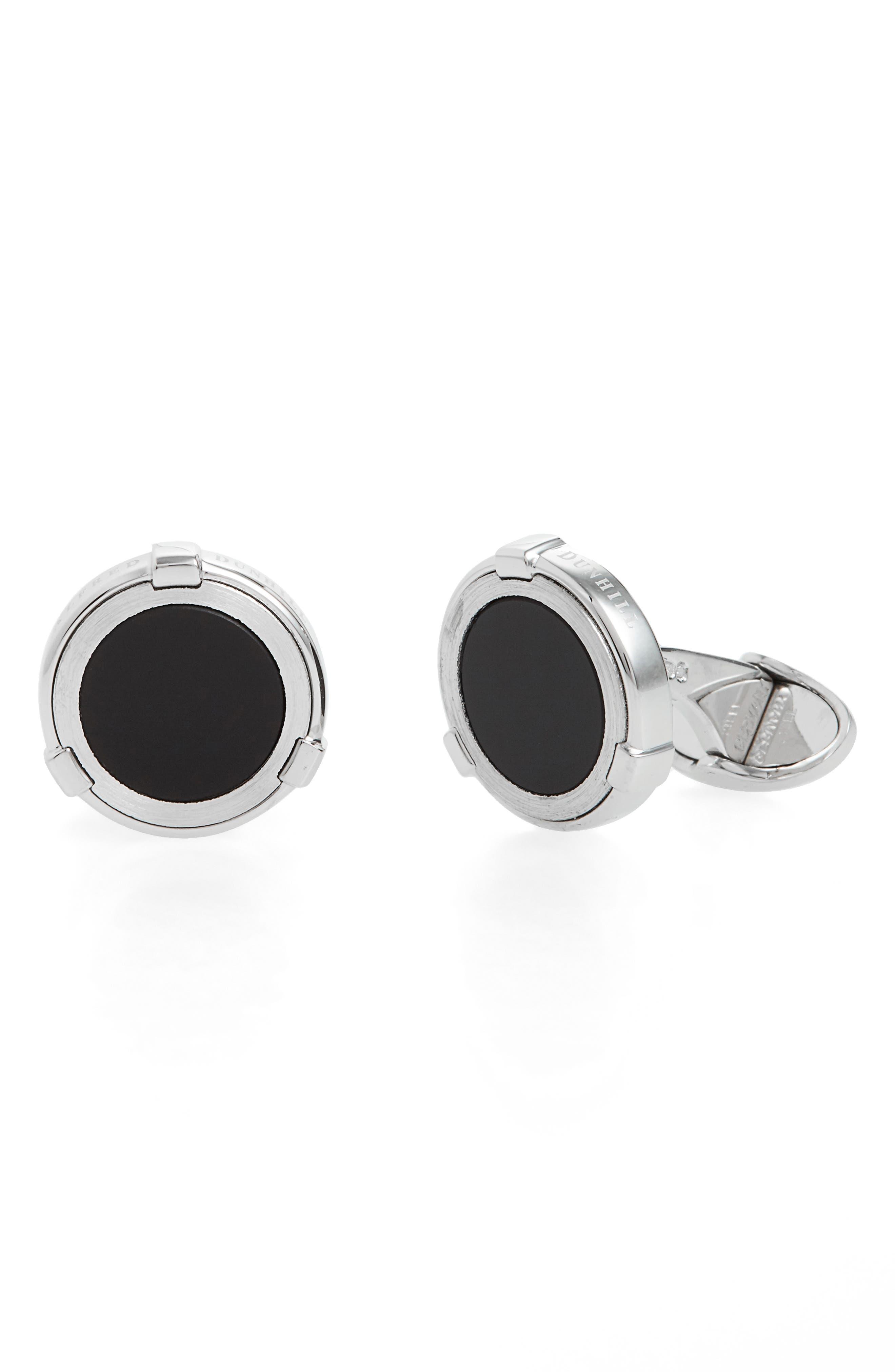 Latch Stone Cuff Links,                         Main,                         color, Onyx/Silver