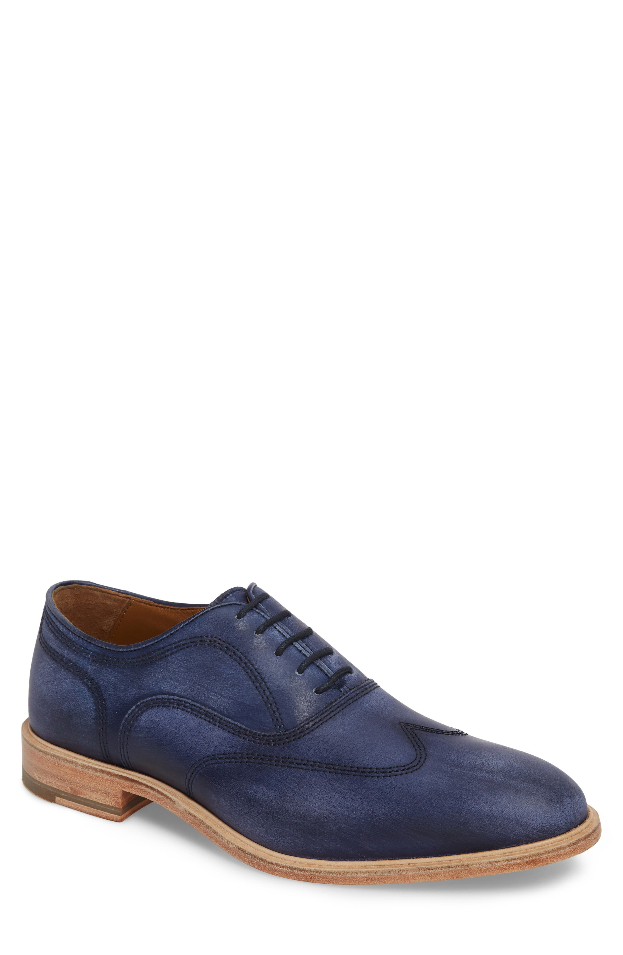 Chambliss Wingtip Oxford,                         Main,                         color, Navy Leather