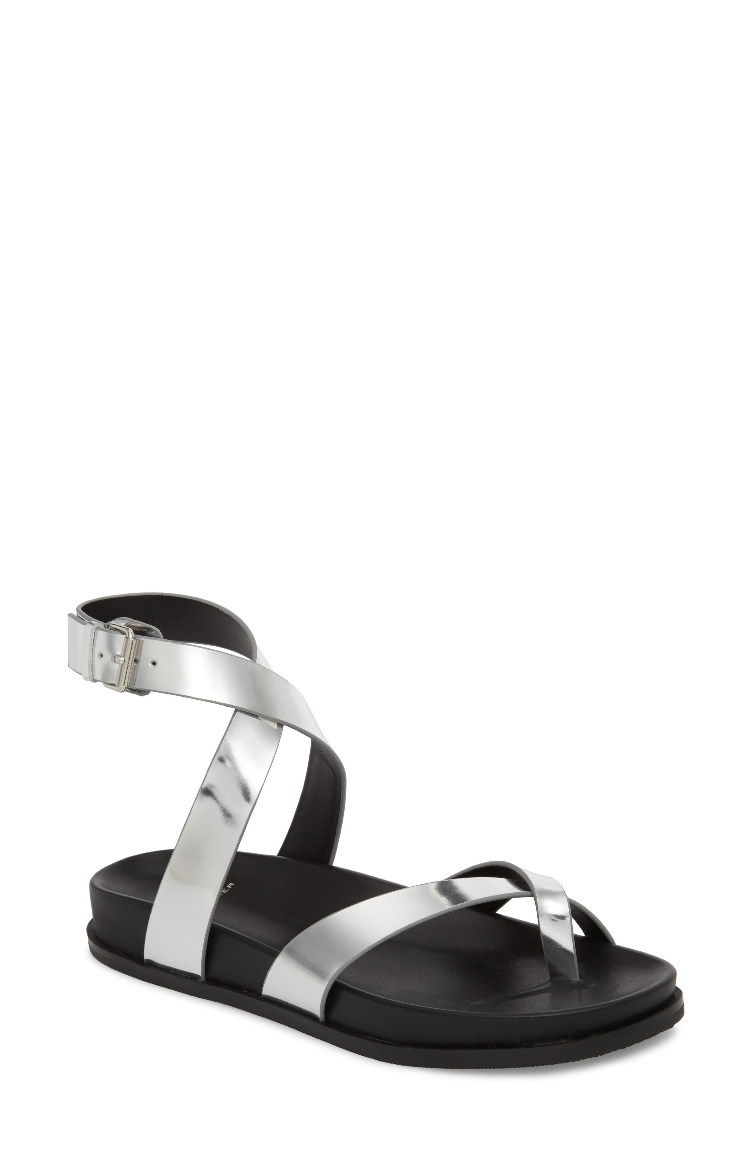Yarina Sandal,                         Main,                         color, Silver Leather