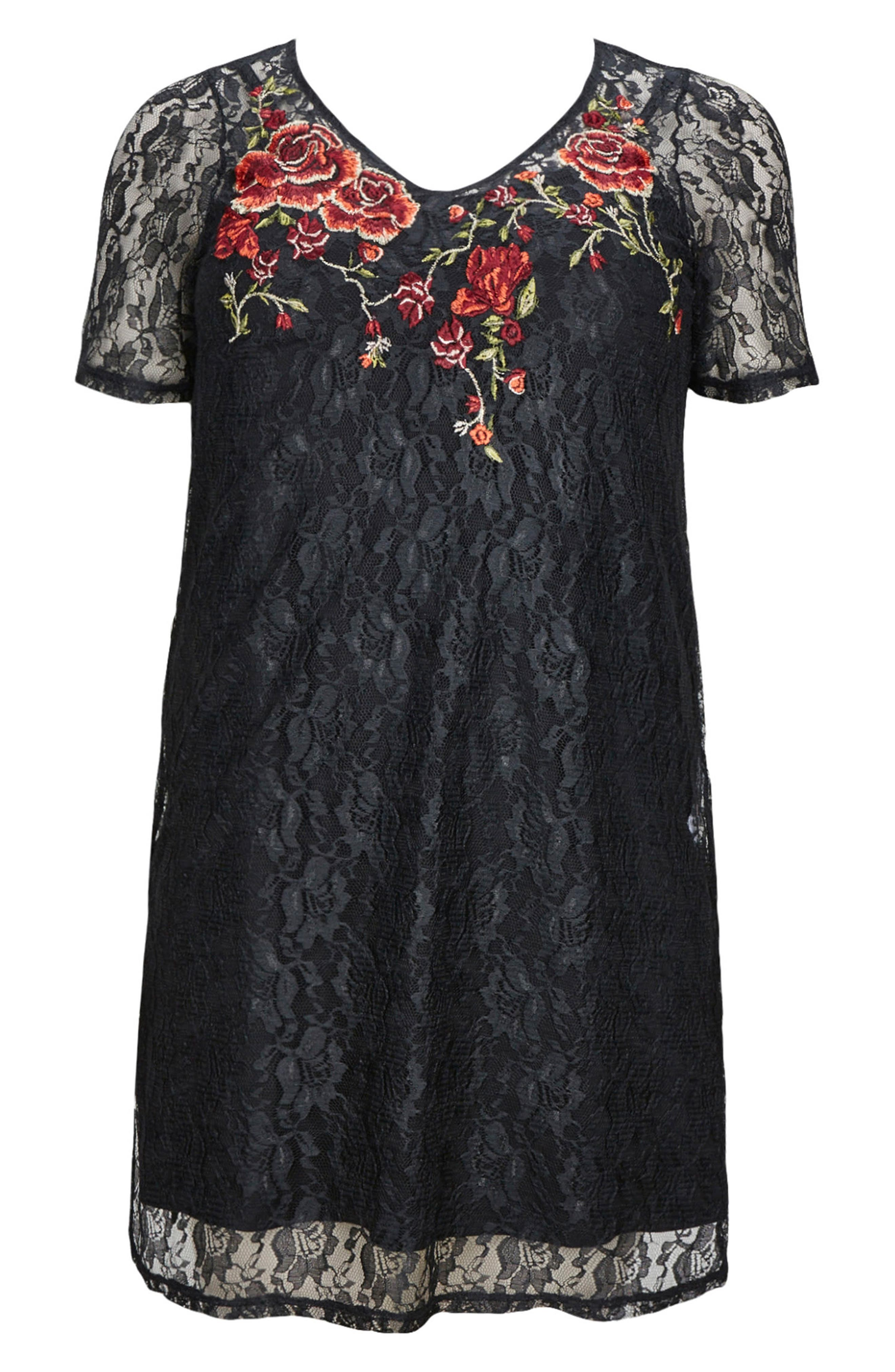 Alternate Image 4  - Evans Embroidered Lace Tunic (Plus Size)