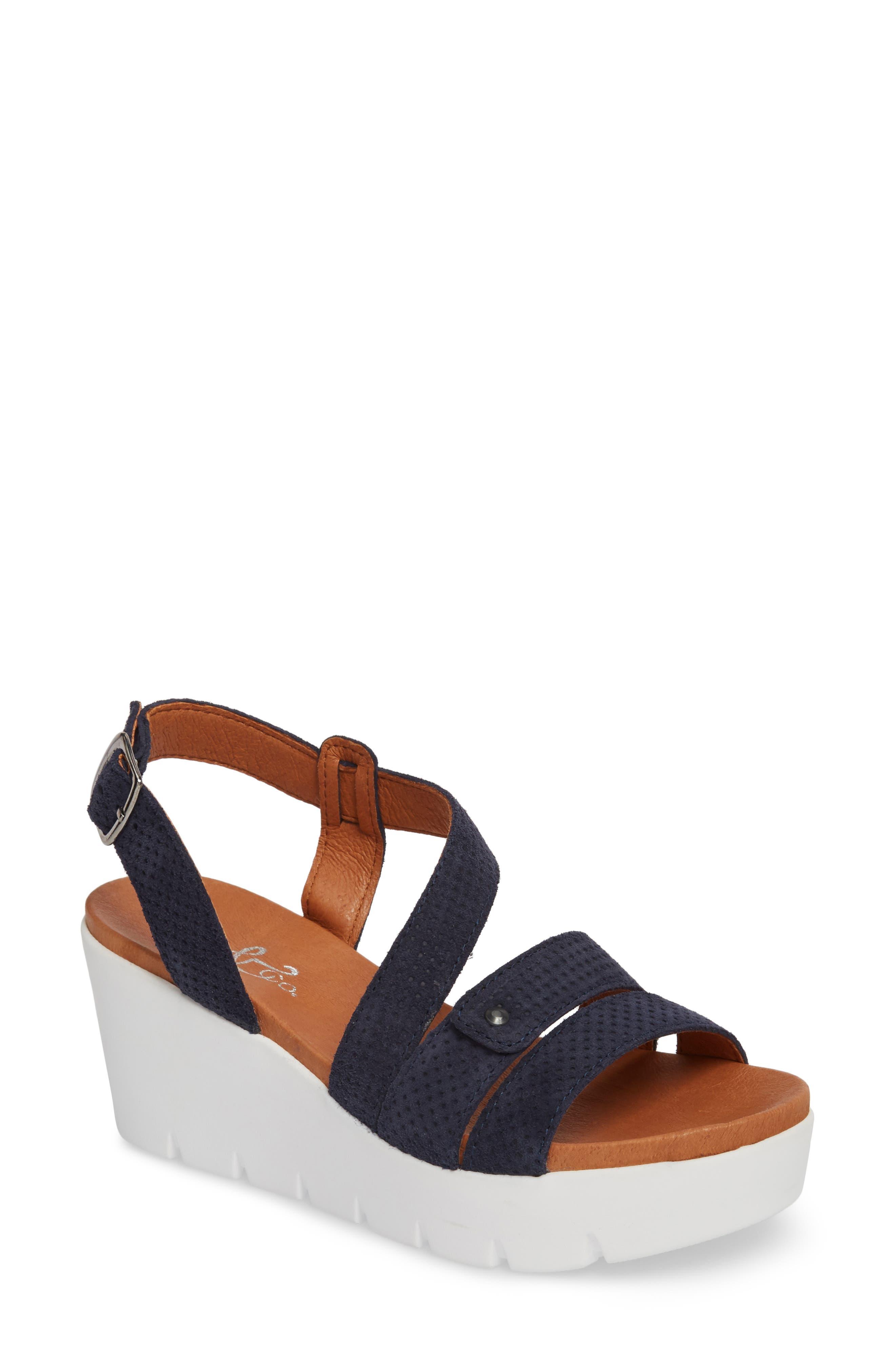 Sierra Platform Wedge Sandal,                         Main,                         color, Blue Leather