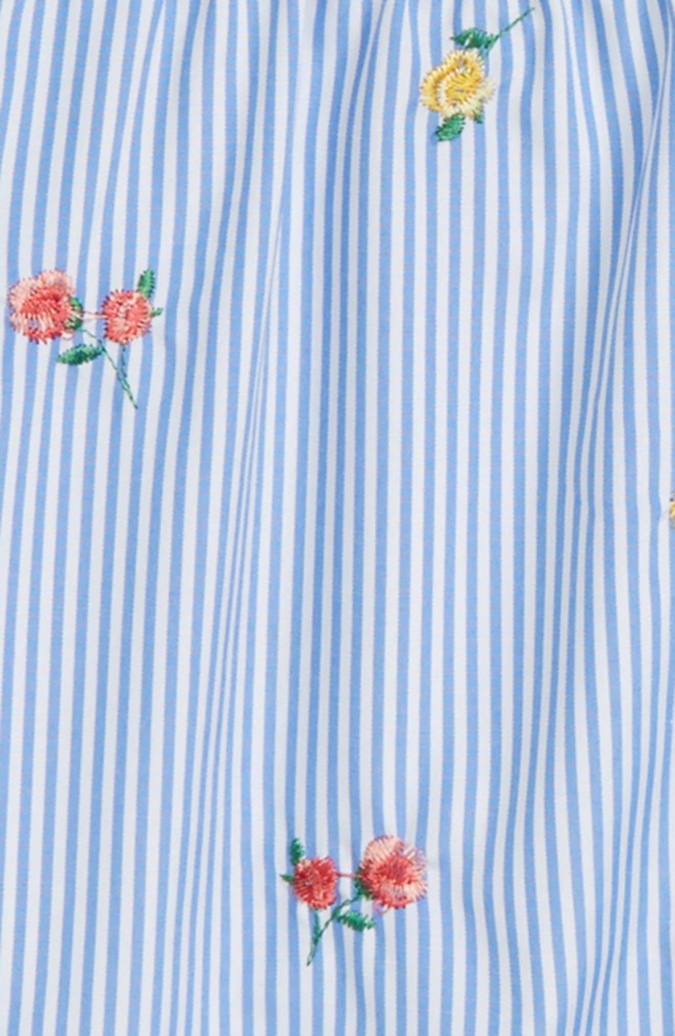 Floral Embroidery Stripe Shirt,                             Alternate thumbnail 2, color,                             Light Blue/ White