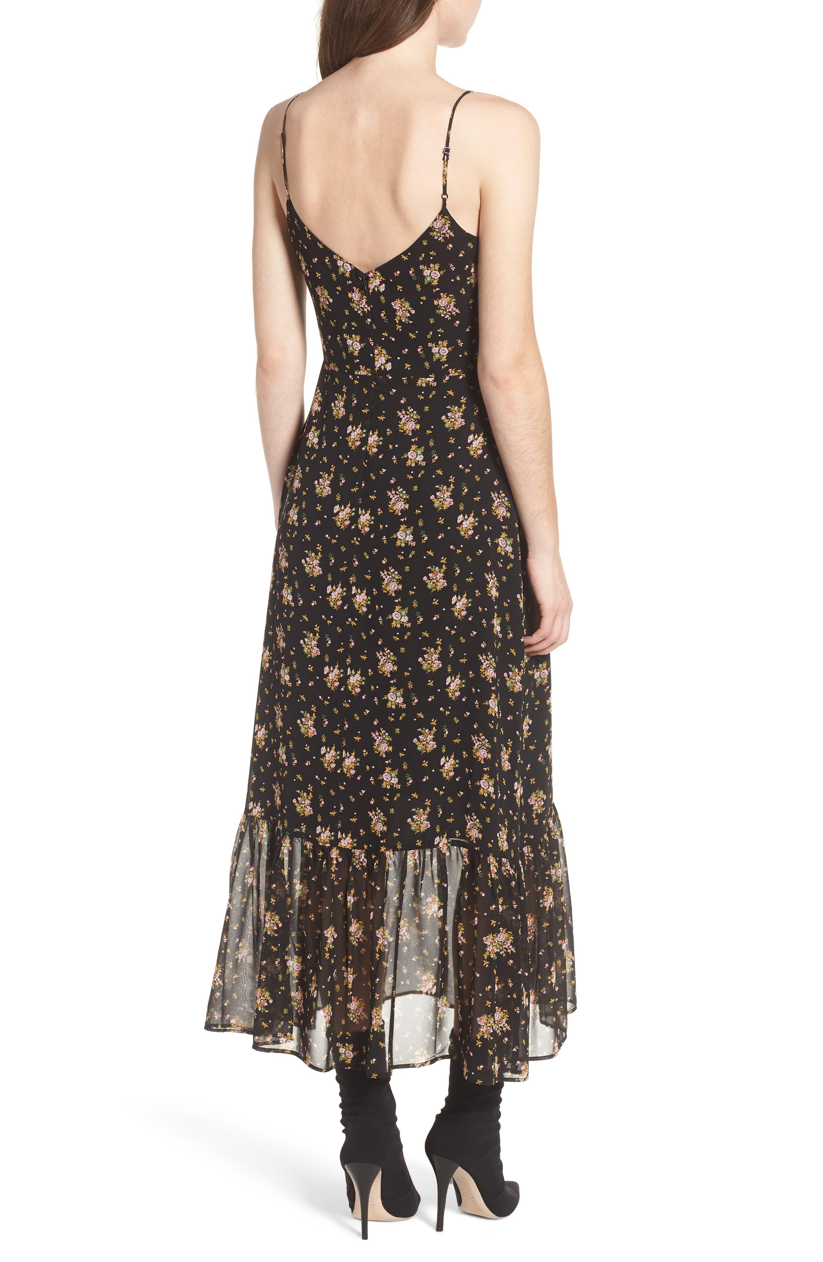 Tie Front Midi Dress,                             Alternate thumbnail 2, color,                             Black Ditzy Floral