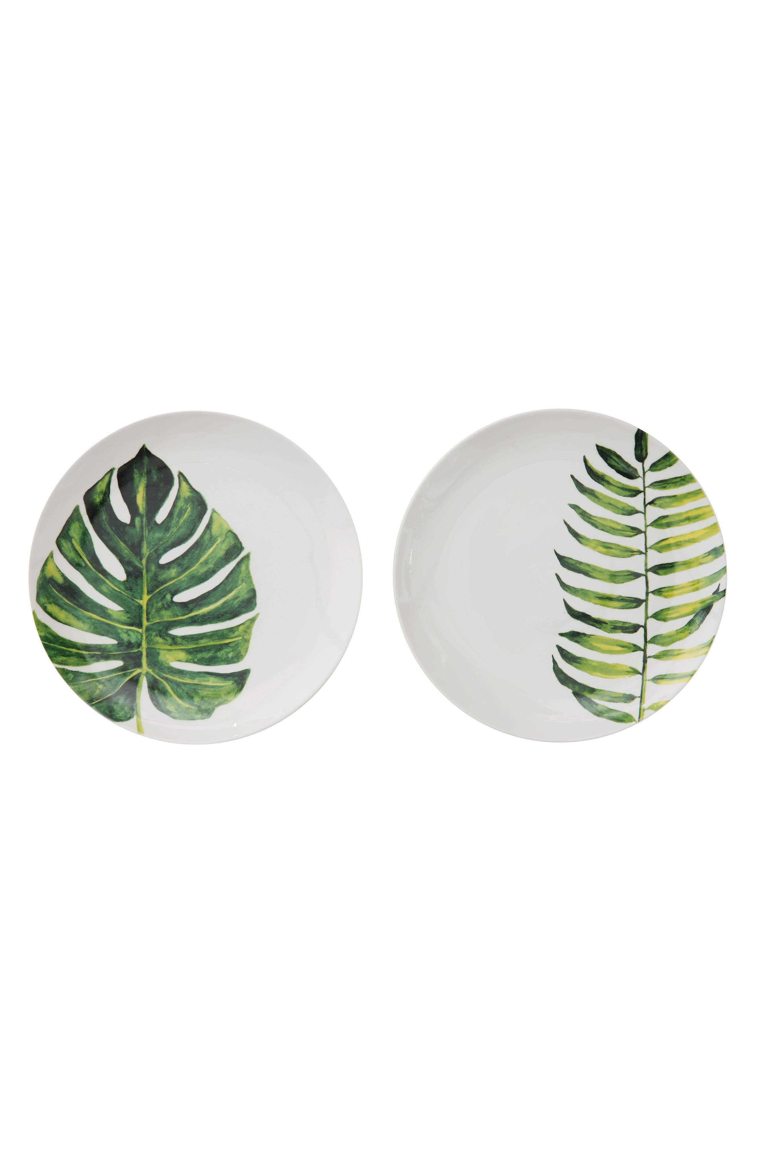Leaf Stoneware Plate,                         Main,                         color, Green