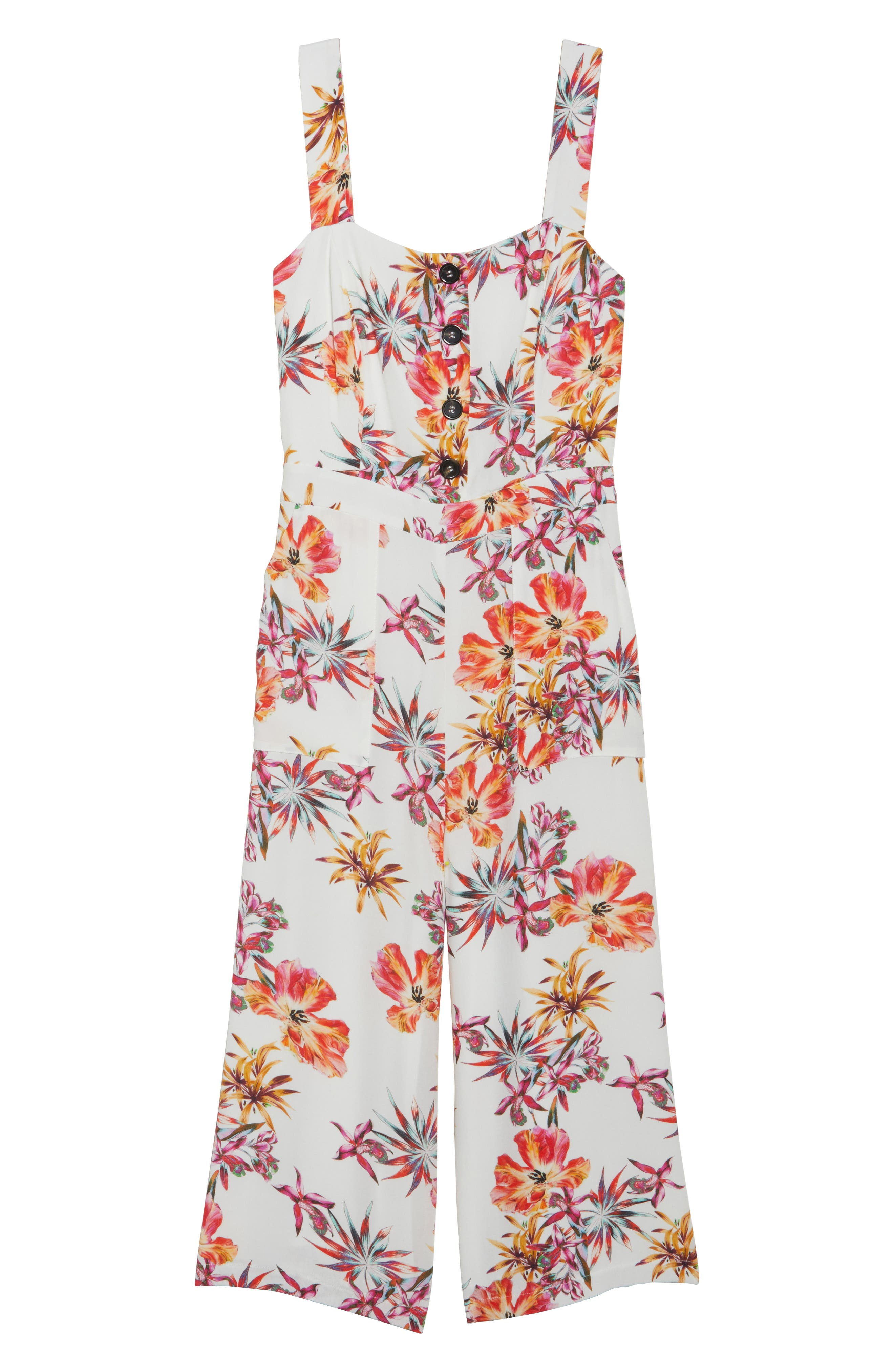 Eloise Floral Jumpsuit,                             Alternate thumbnail 6, color,                             Off White/ Red