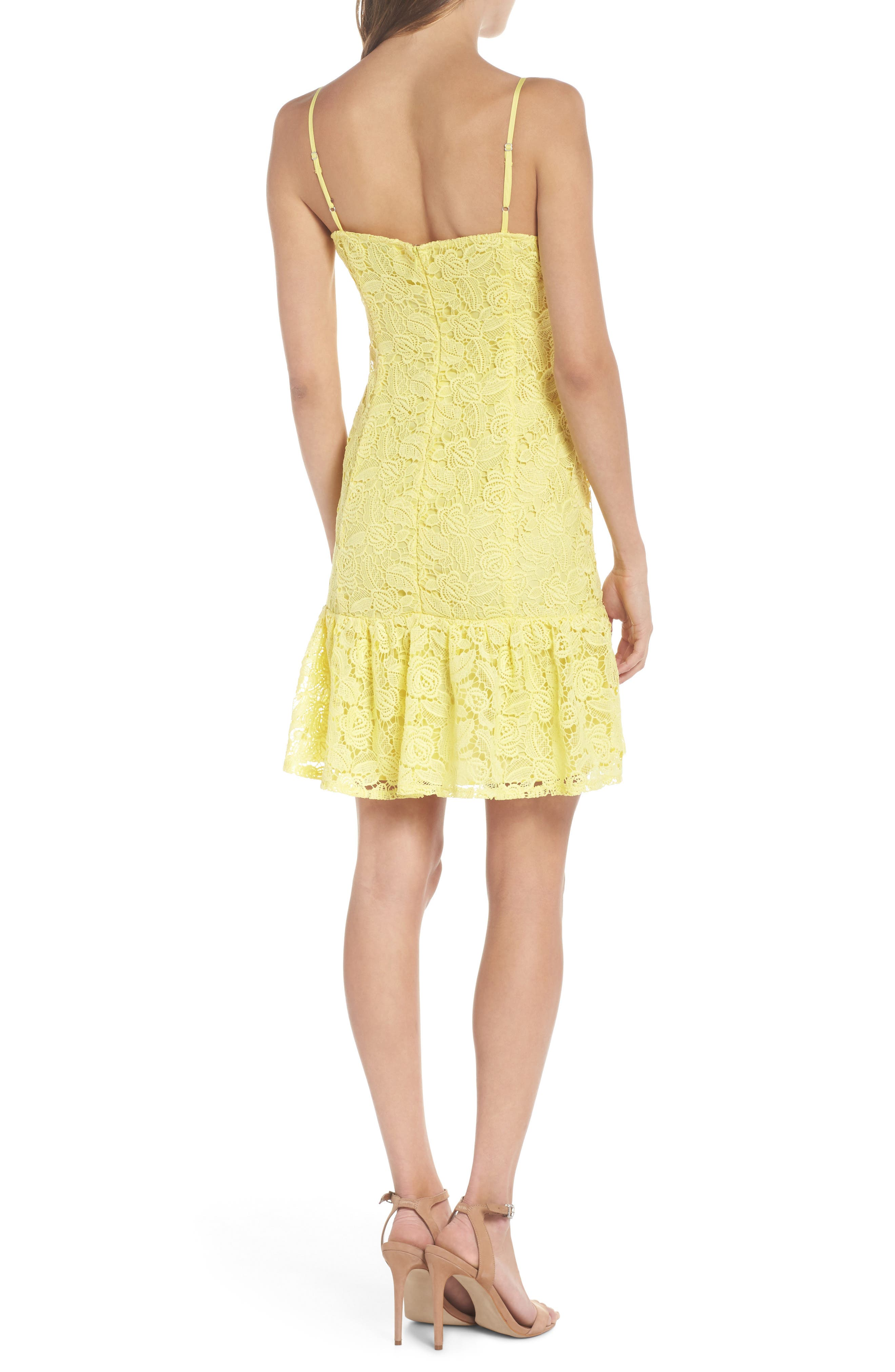 Alternate Image 2  - BB Dakota Gisel Ruffle Hem Lace Dress