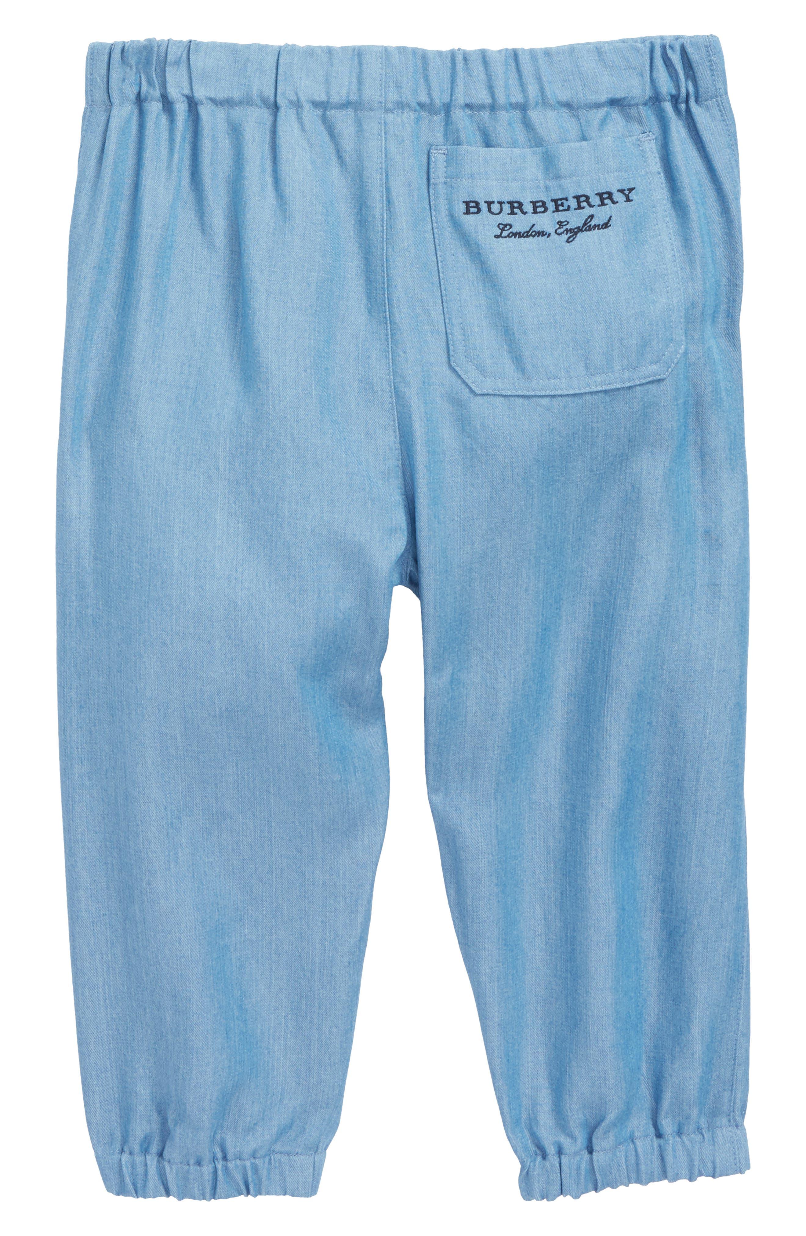 Mini Phillie Chambray Pants,                             Alternate thumbnail 3, color,                             Steel Blue