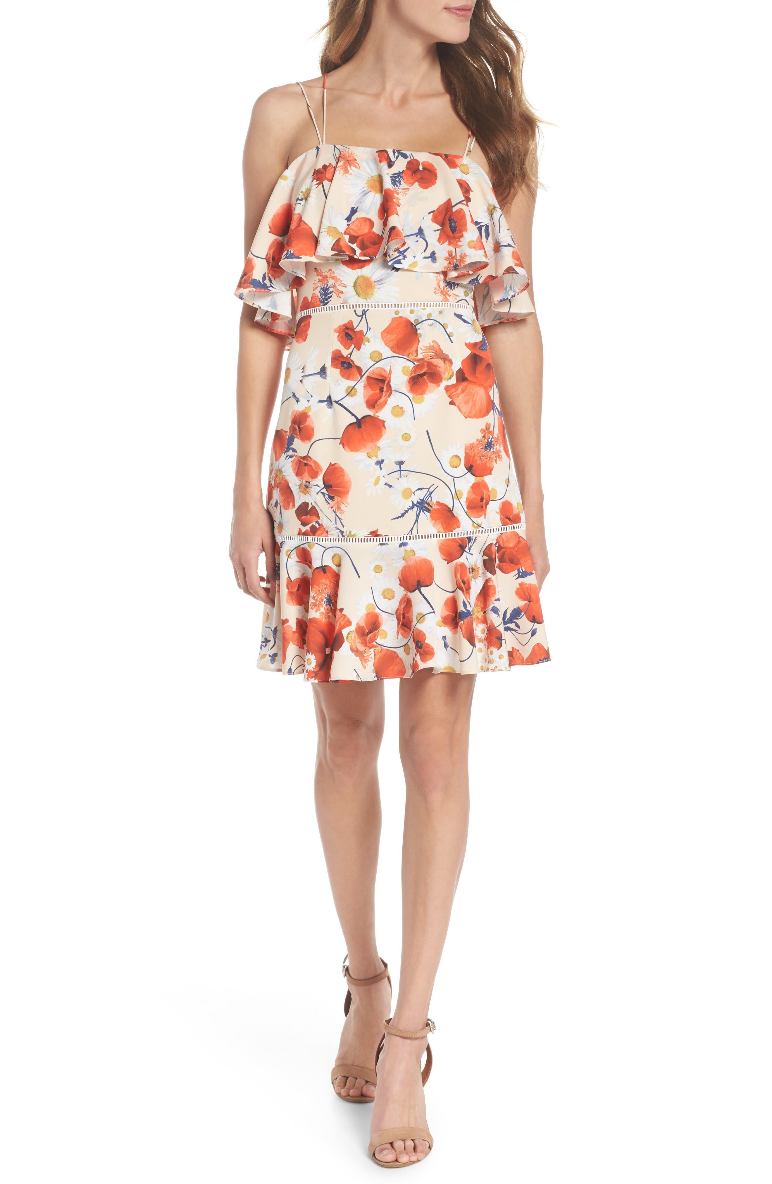 Lola Printed Poplin Dress,                             Main thumbnail 1, color,                             Coral Floral