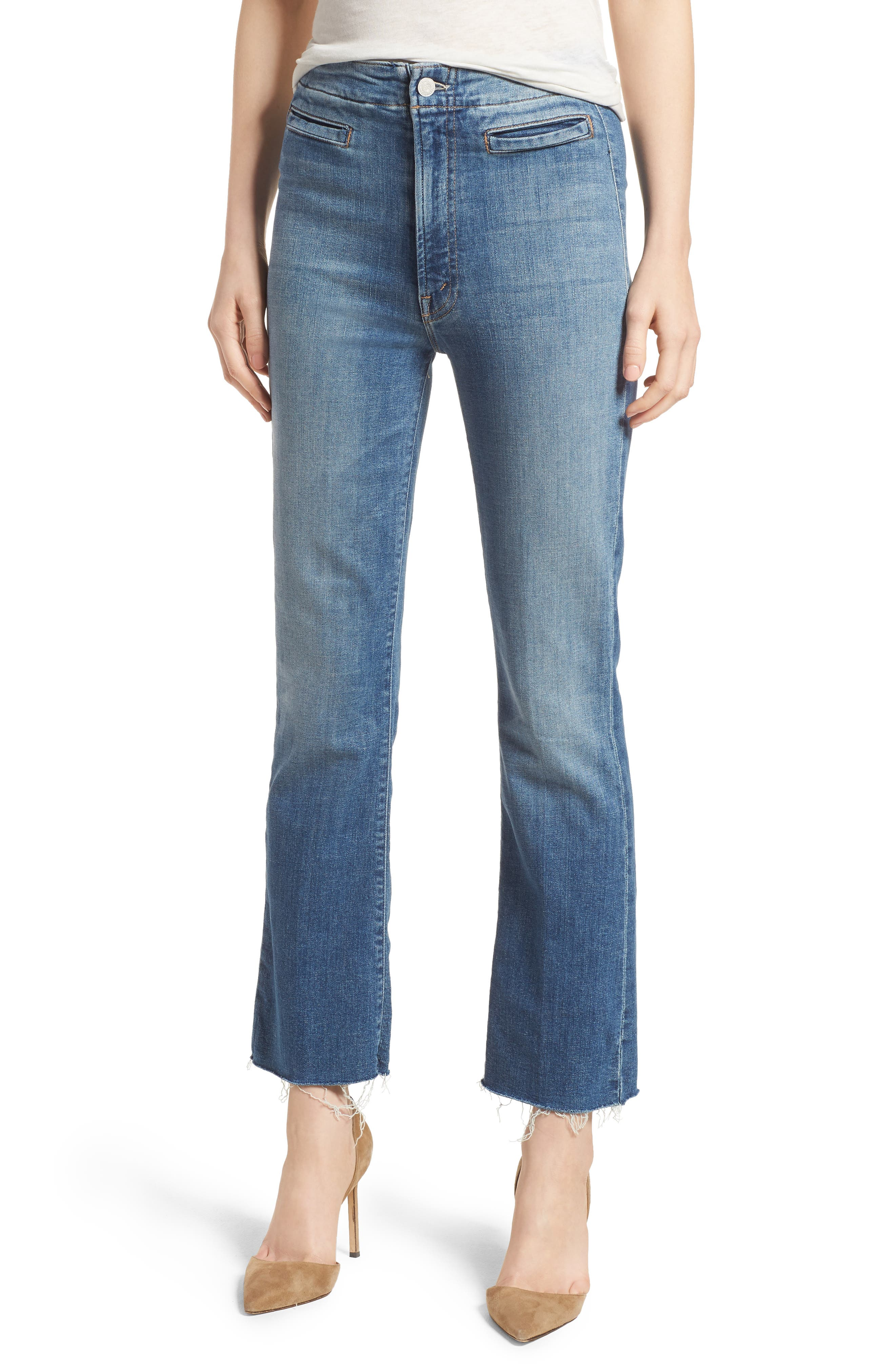 MOTHER The Laced Hustler Fray Ankle Bootcut Jeans (One Smart Cookie)