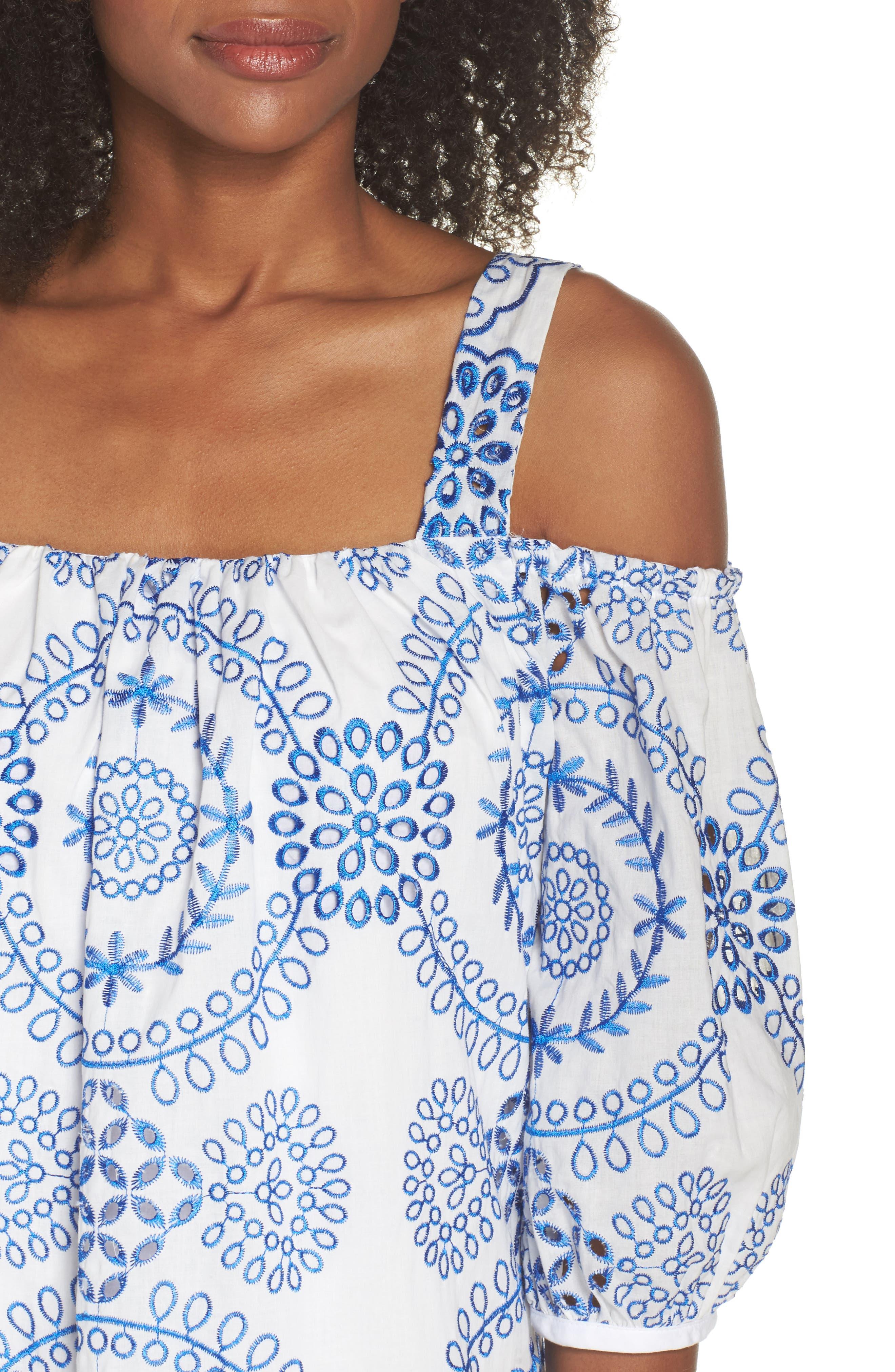 Tonie Cold Shoulder Dress,                             Alternate thumbnail 4, color,                             White/ Blue Astor