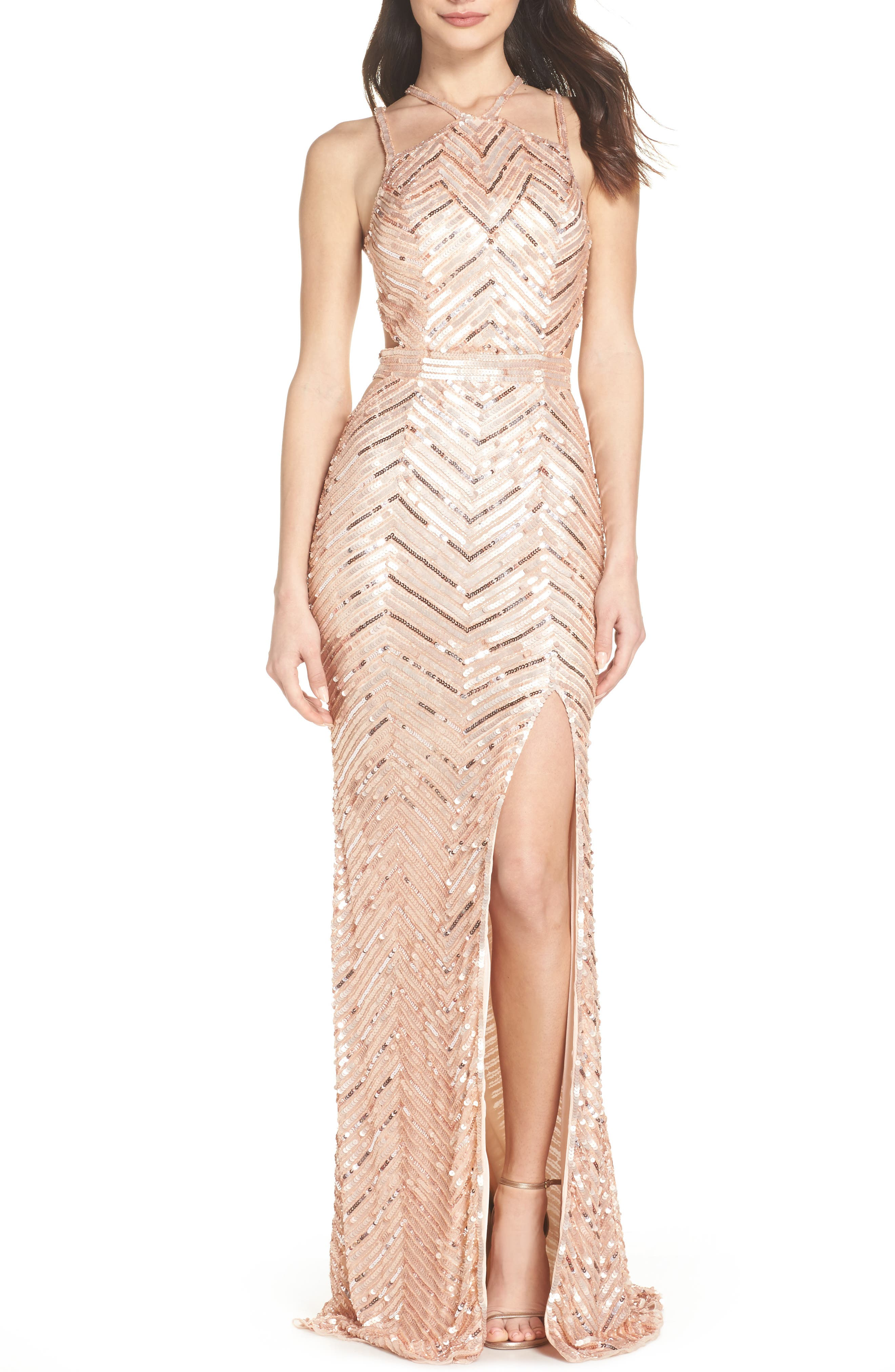 Sequin Strappy Gown,                         Main,                         color, Rose Gold