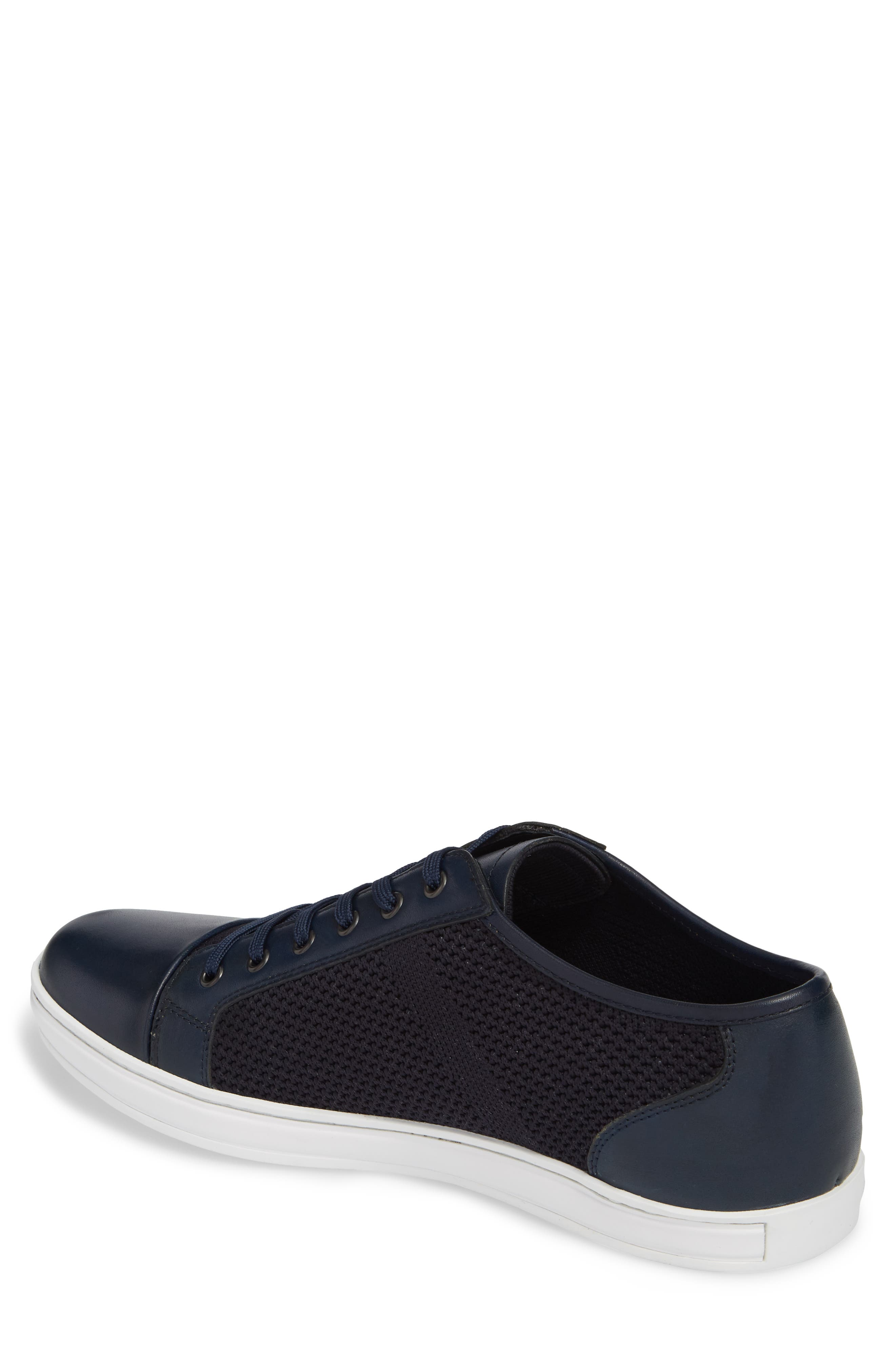 Knit Low Top Sneaker,                             Alternate thumbnail 2, color,                             Navy Leather
