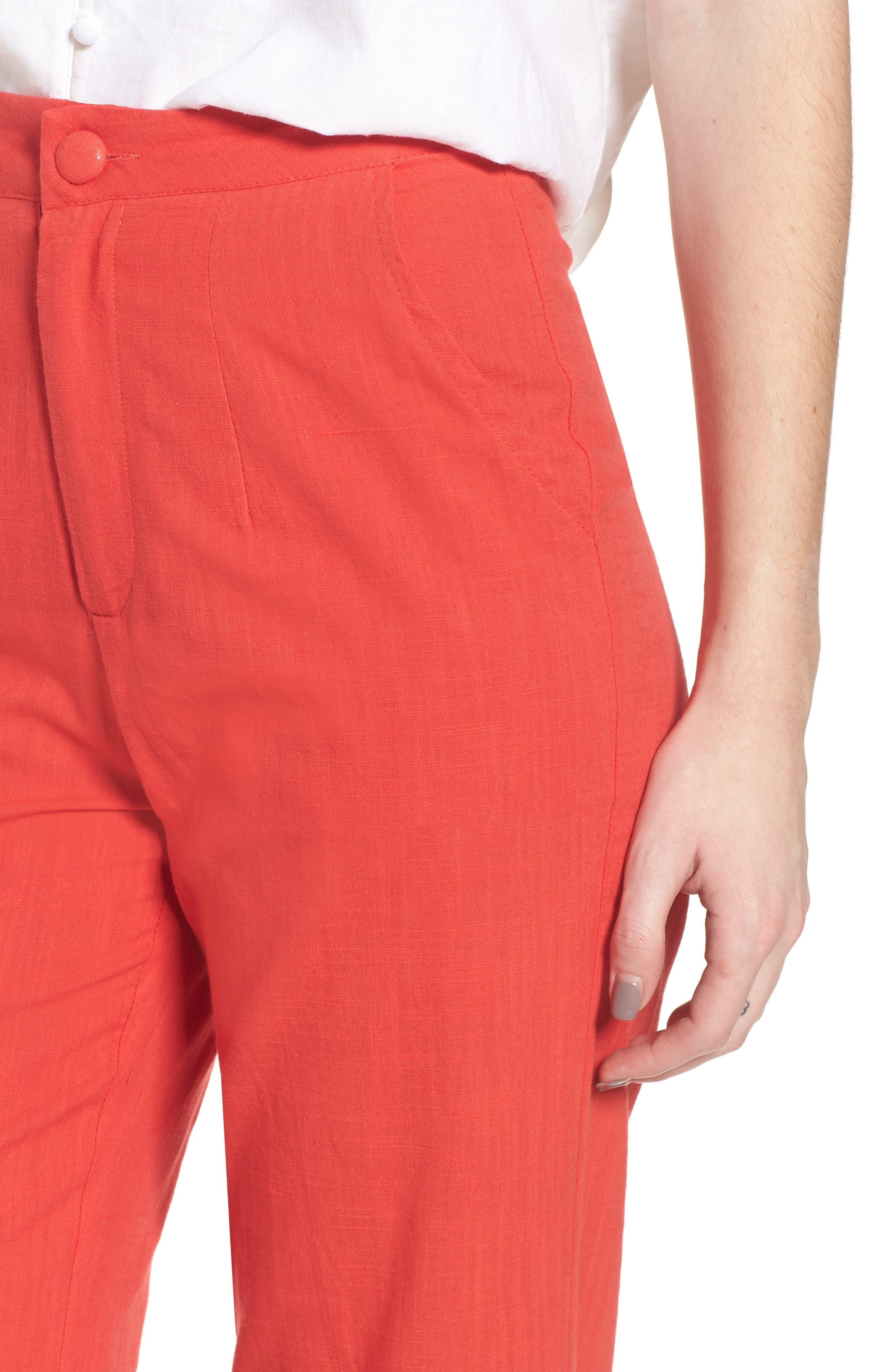 Femme Fatale High Waist Pants,                             Alternate thumbnail 4, color,                             Red