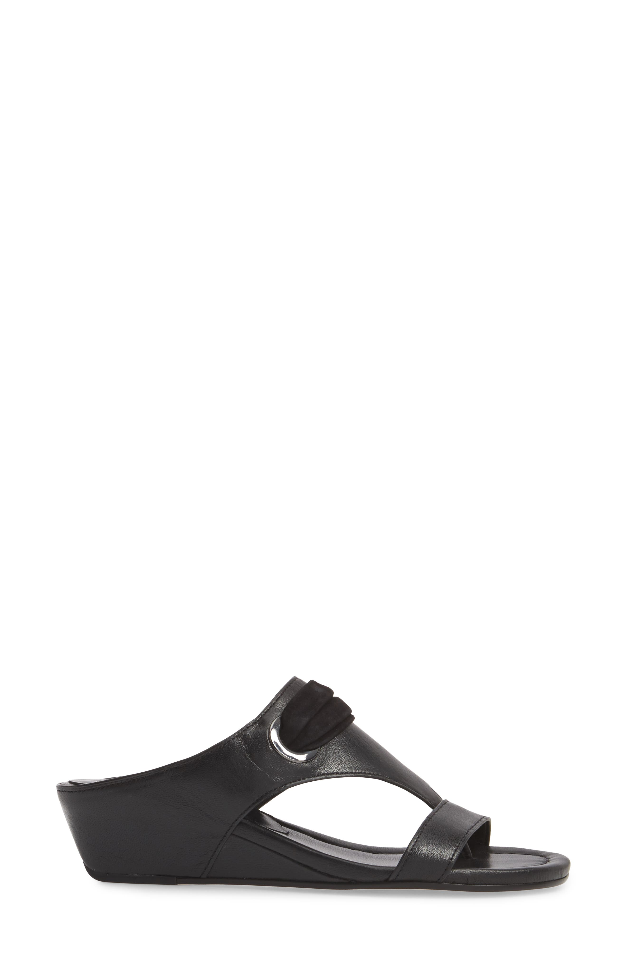 Dionne Wedge Sandal,                             Alternate thumbnail 3, color,                             Black Leather