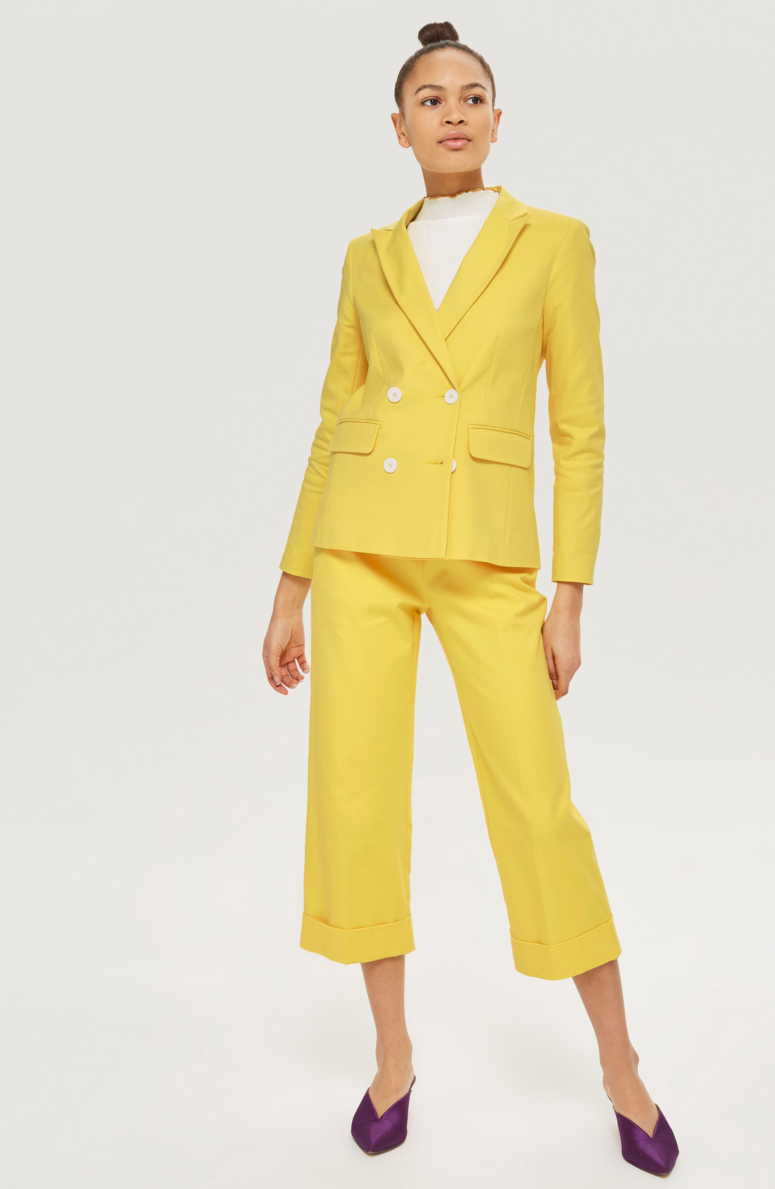 Milly Crop Suit Trousers,                             Alternate thumbnail 2, color,                             Yellow