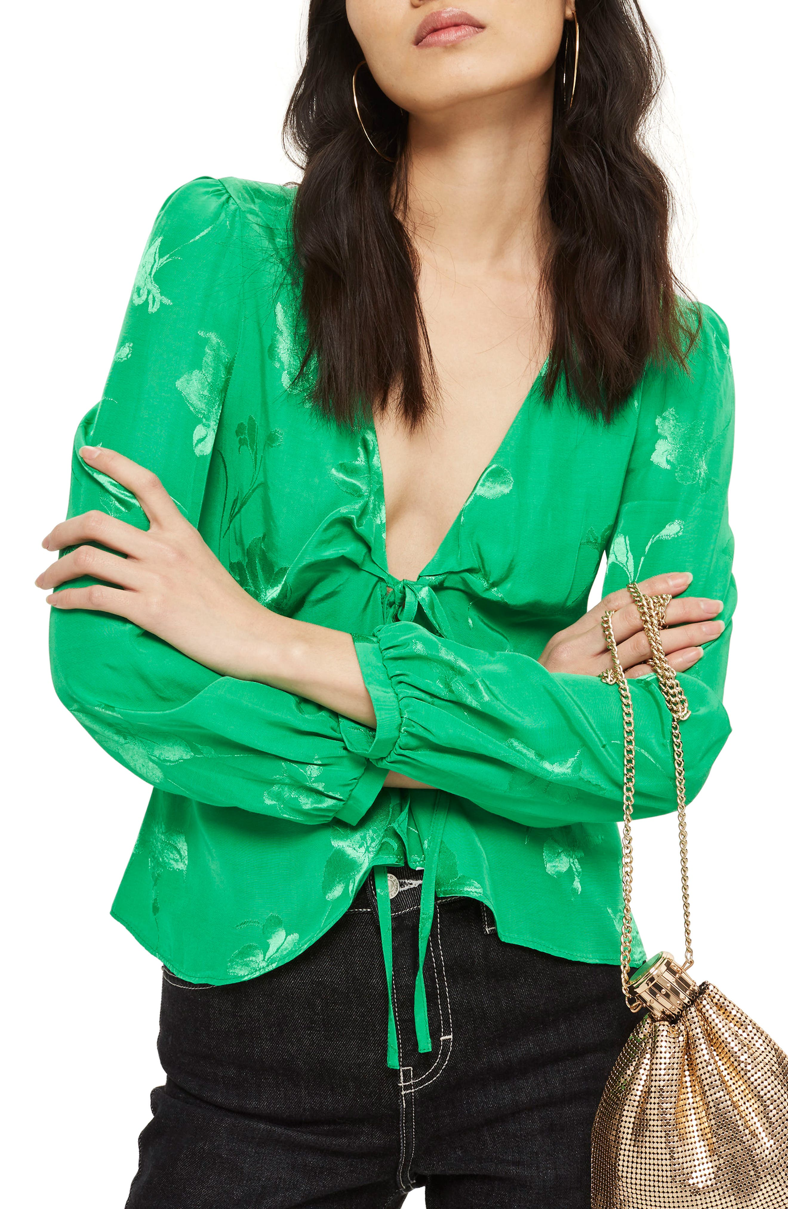 Floral Jacquard Blouse,                             Main thumbnail 1, color,                             Green