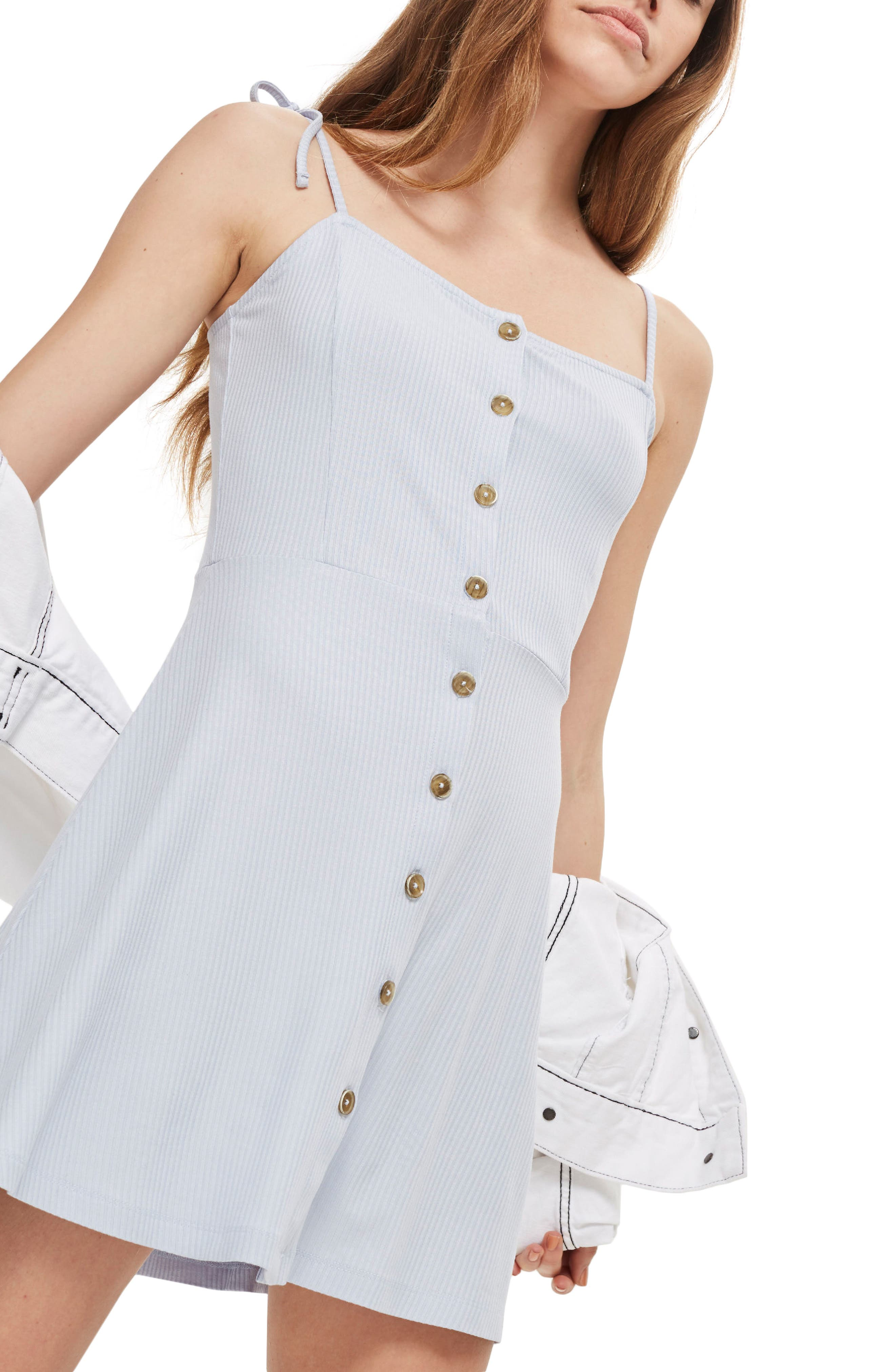 Topshop Button Down Rib Minidress