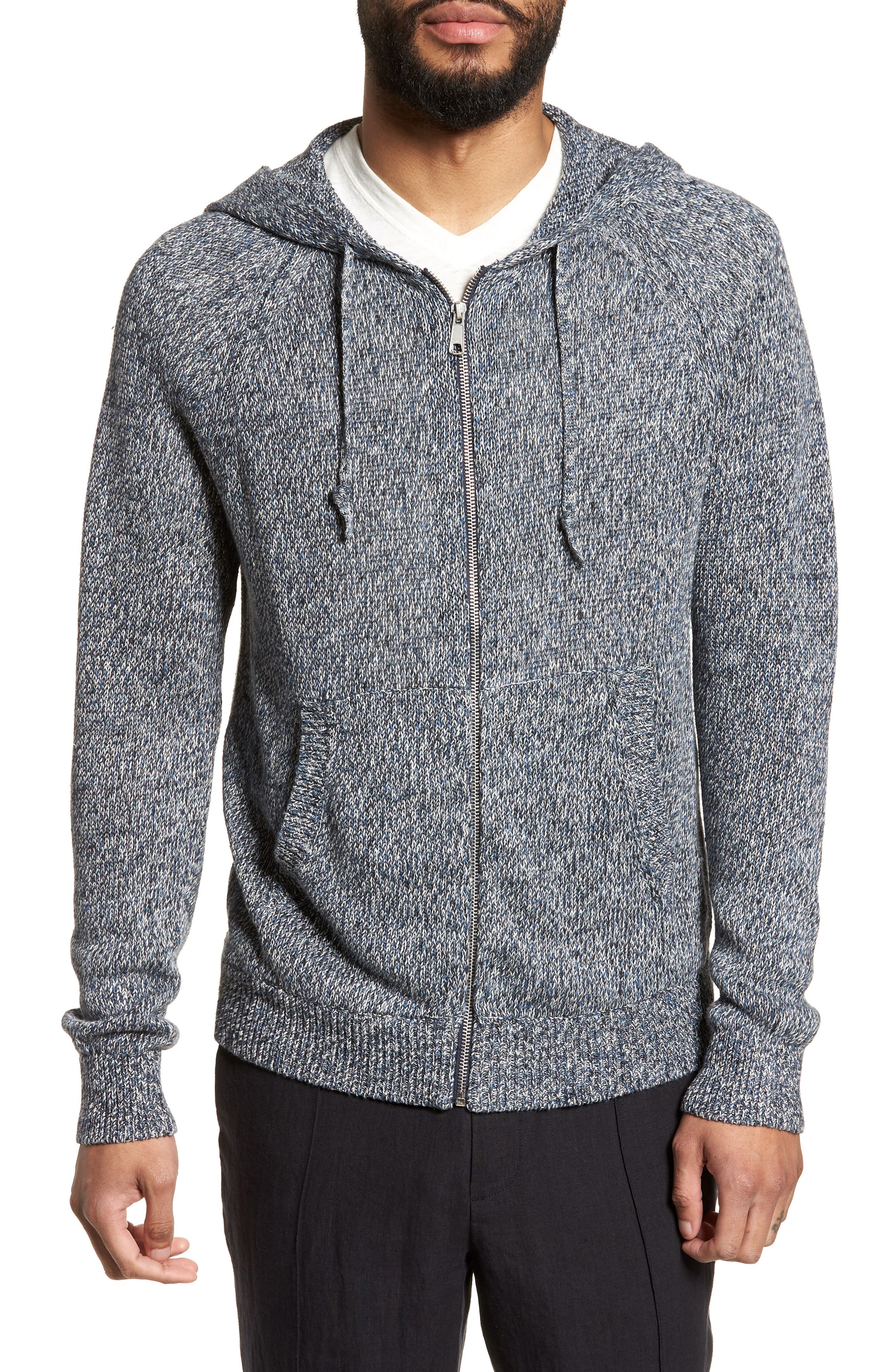 Alternate Image 4  - Vince Slim Fit Marled Linen Zip Hoodie