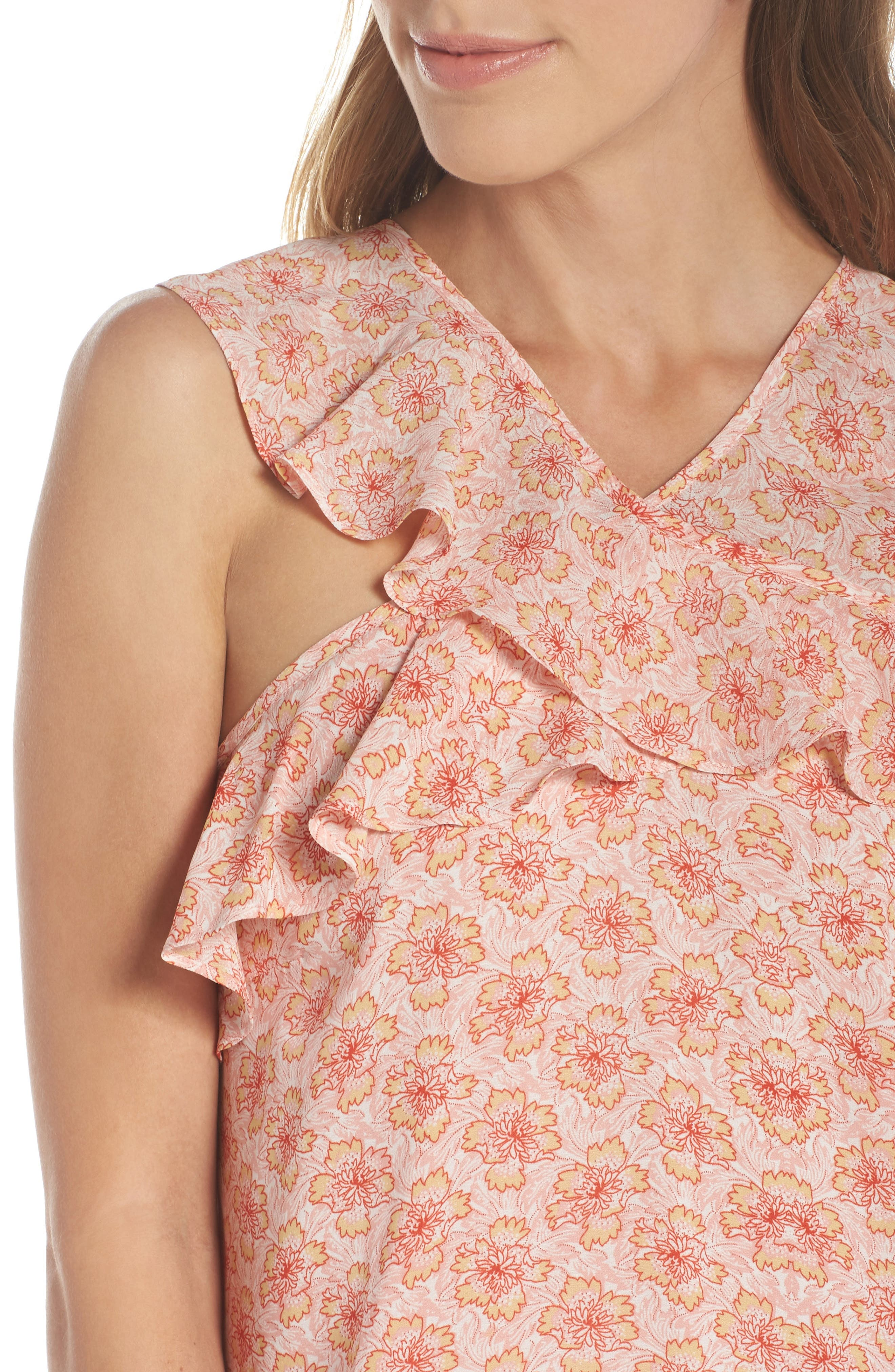 Crisscross Ruffle Shift Dress,                             Alternate thumbnail 4, color,                             Pink Multi