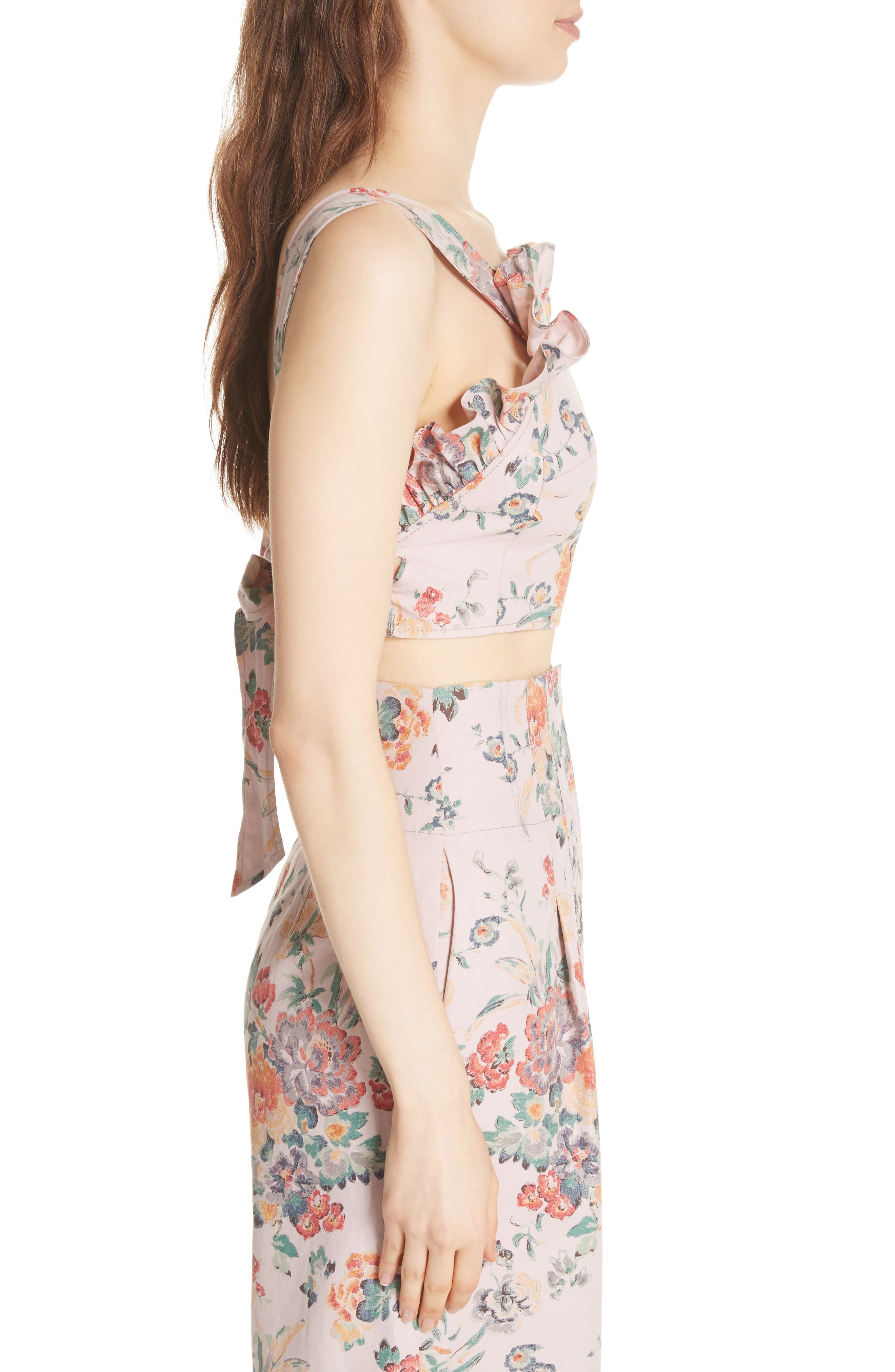 Marlena Floral Linen Blend Ruffle Top,                             Alternate thumbnail 3, color,                             Dusty Rose Combo