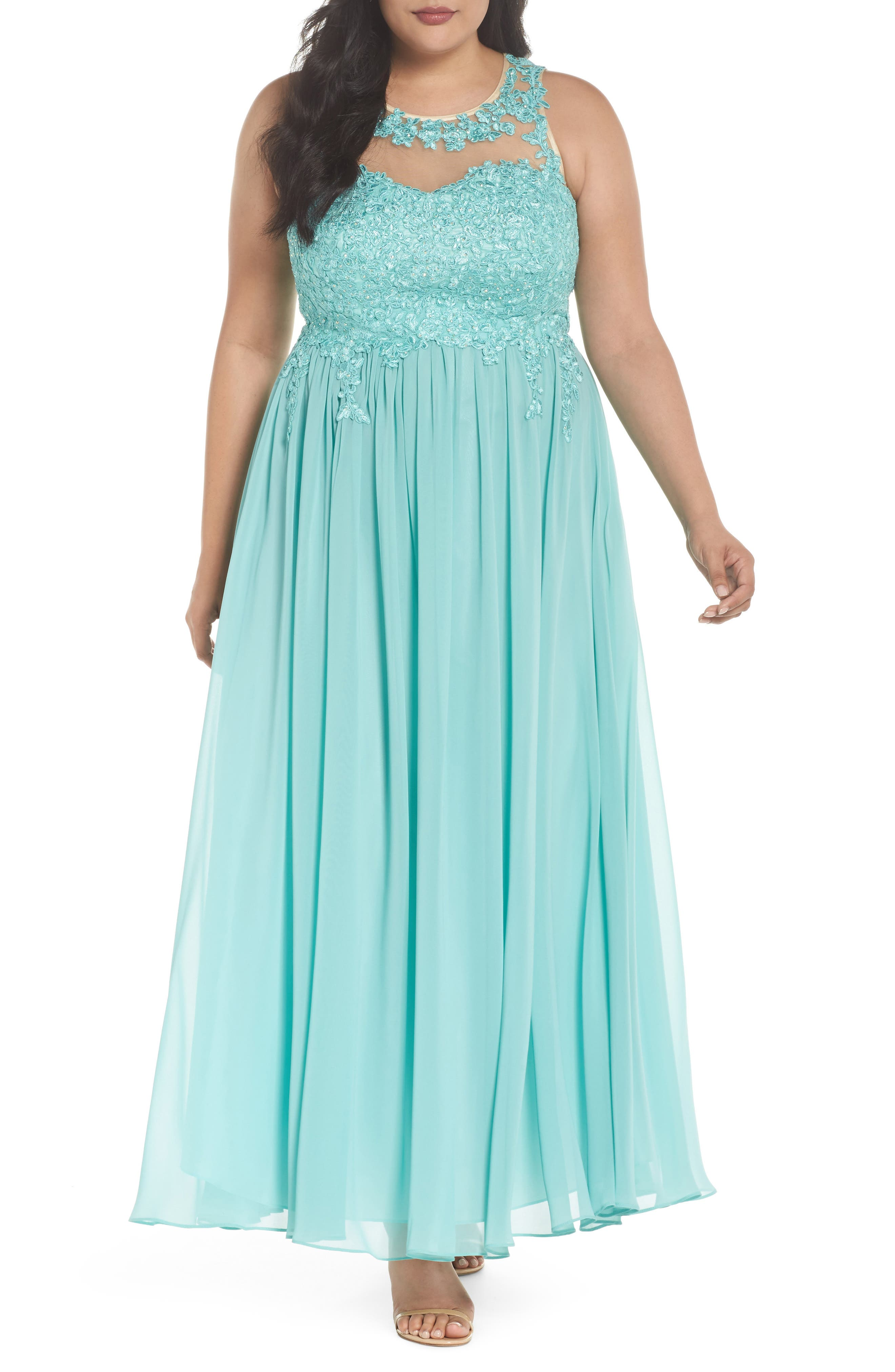 Embellished A-Line Chiffon Gown,                             Main thumbnail 1, color,                             Mint