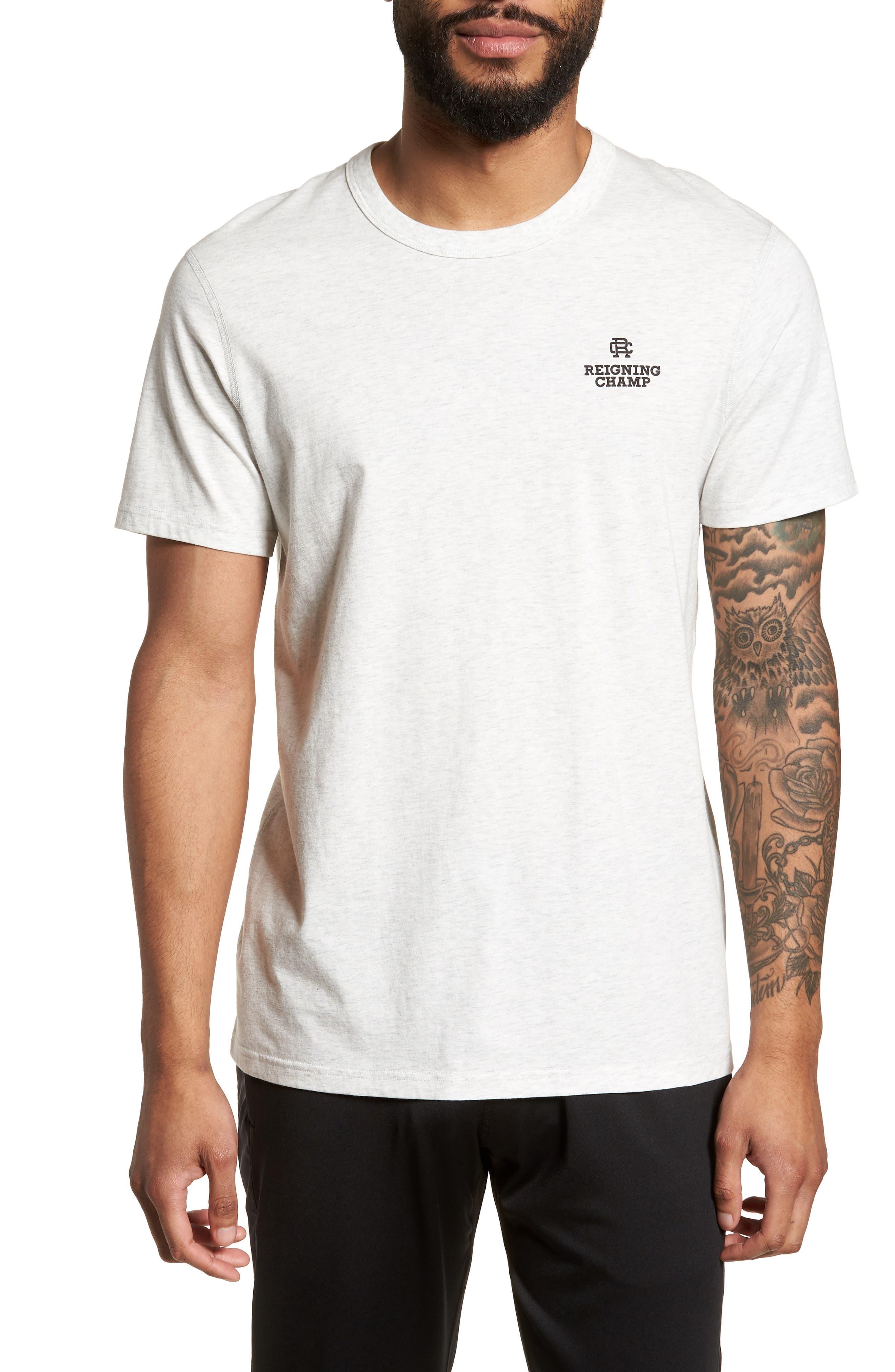 Logo T-Shirt,                         Main,                         color, Heather Ash/ Black