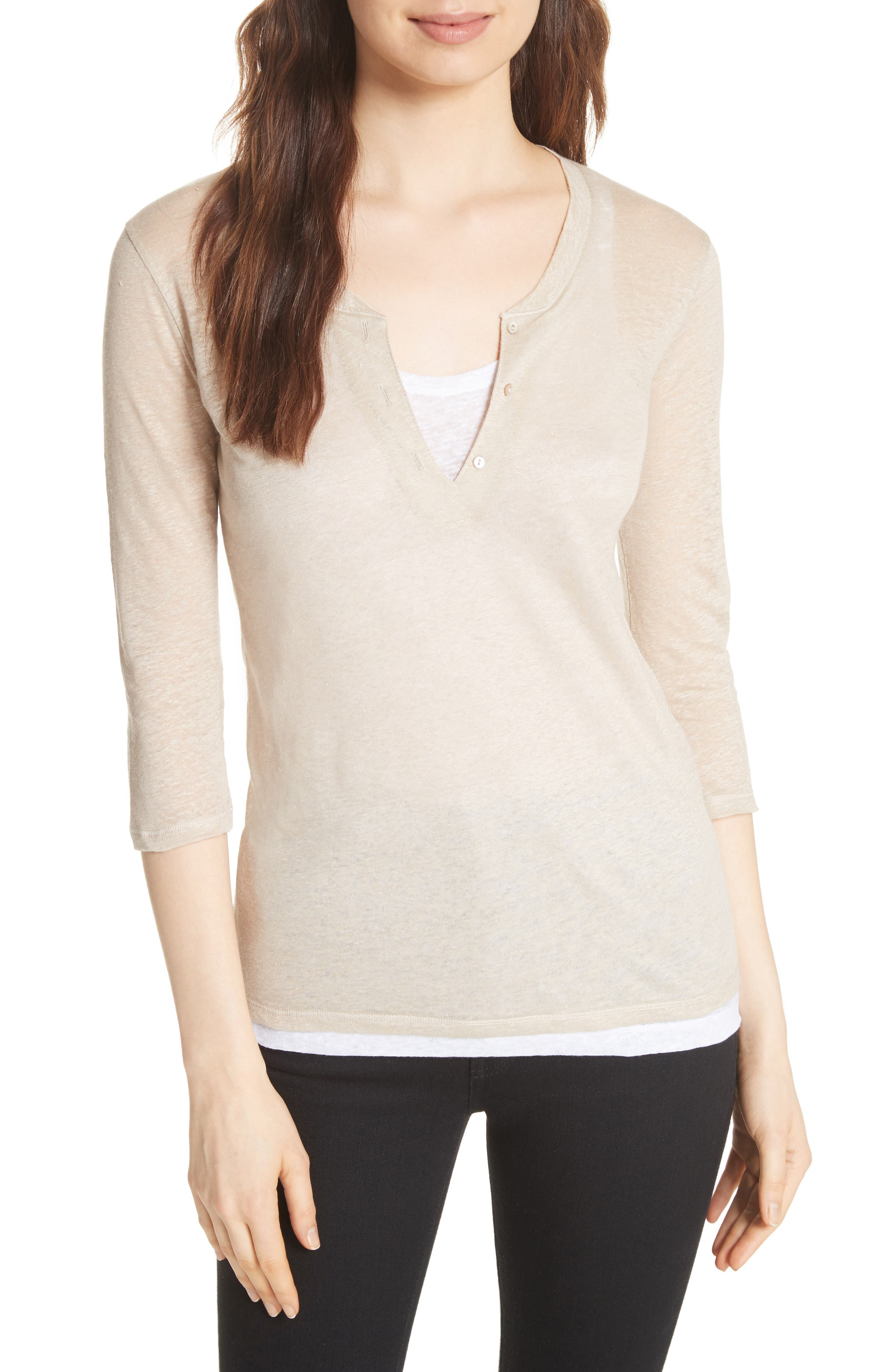 Double Layer Henley Top,                         Main,                         color, Dune/ Blanc