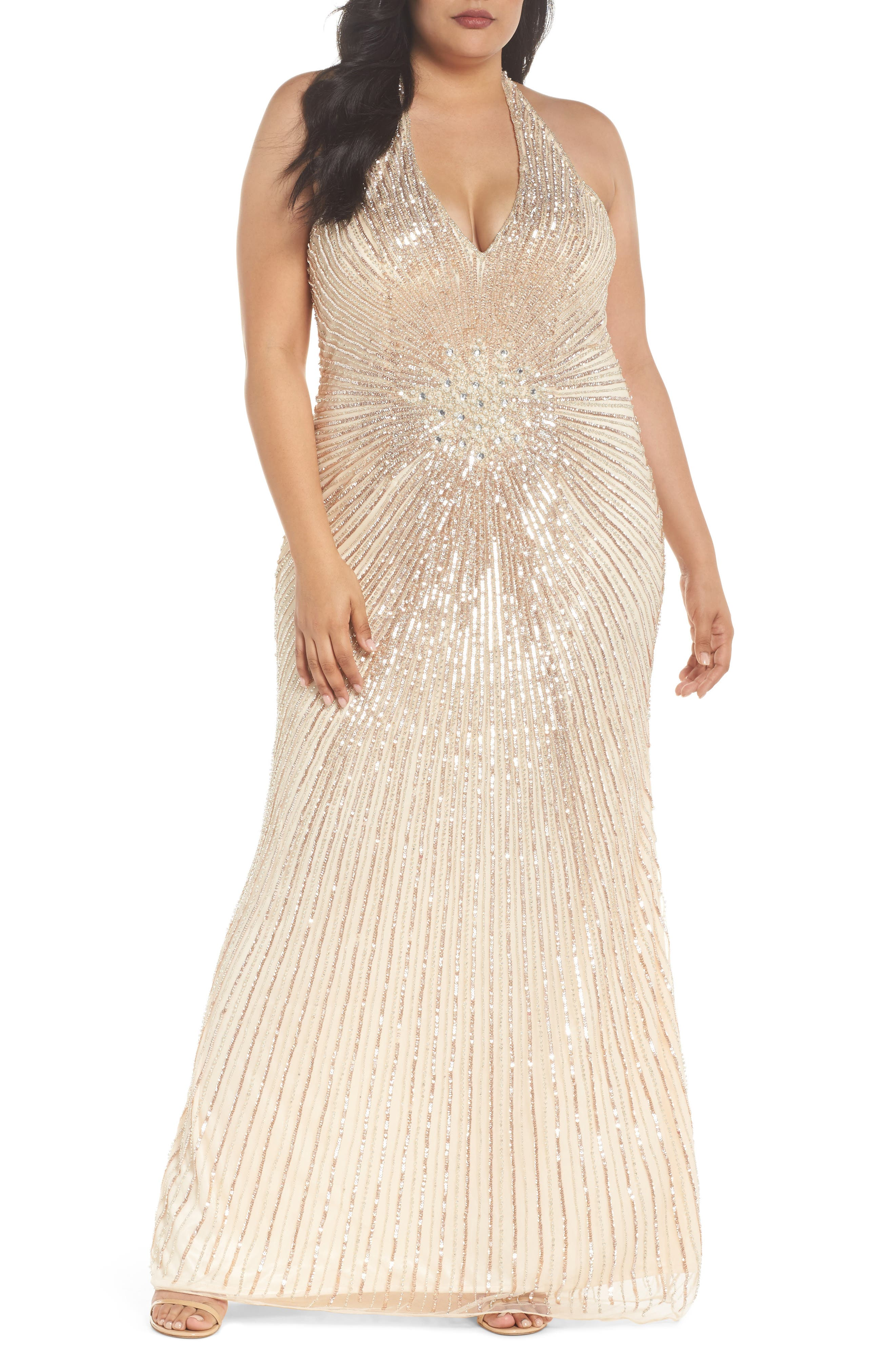 Sequin Halter Gown,                             Main thumbnail 1, color,                             Nude