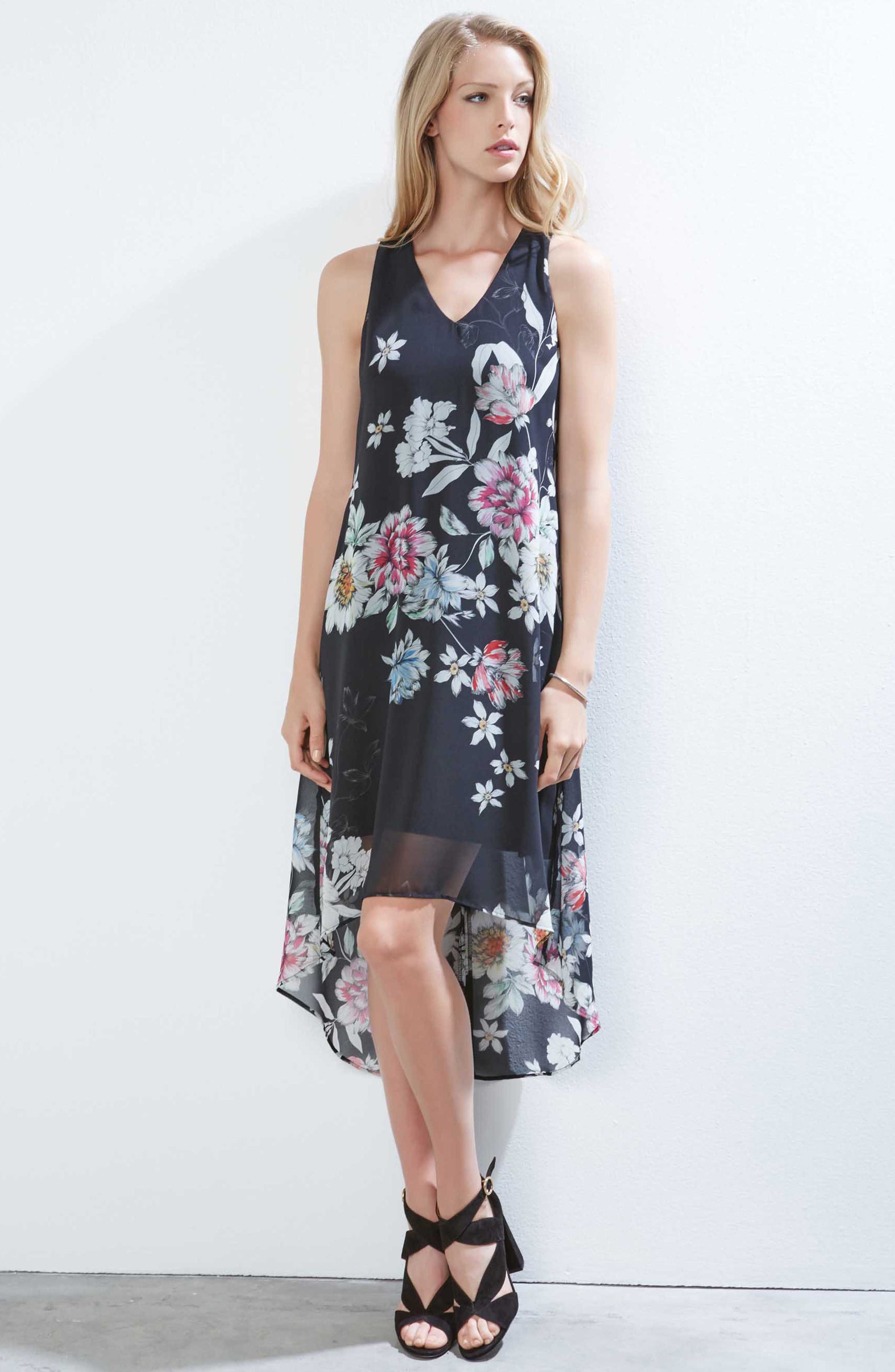 Floral High/Low Dress,                             Alternate thumbnail 3, color,                             Print