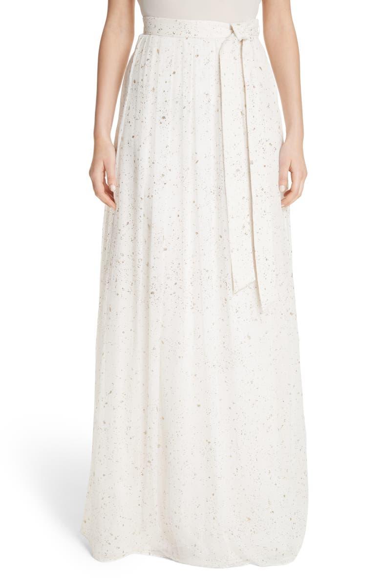 Flocked Glitter Crinkle Chiffon Skirt